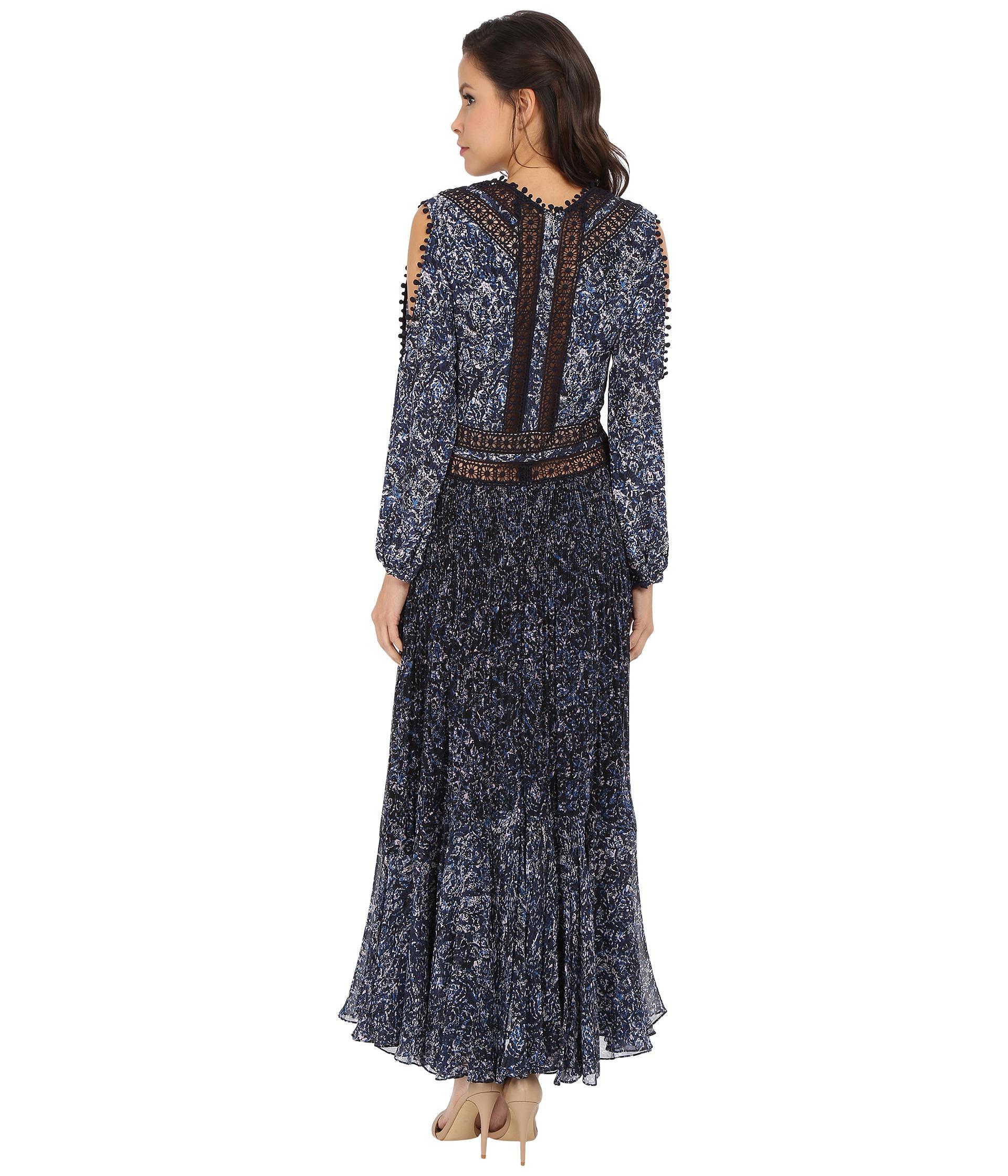 Lyst - Rebecca Taylor Block Print Paisley Maxi Dress in Blue