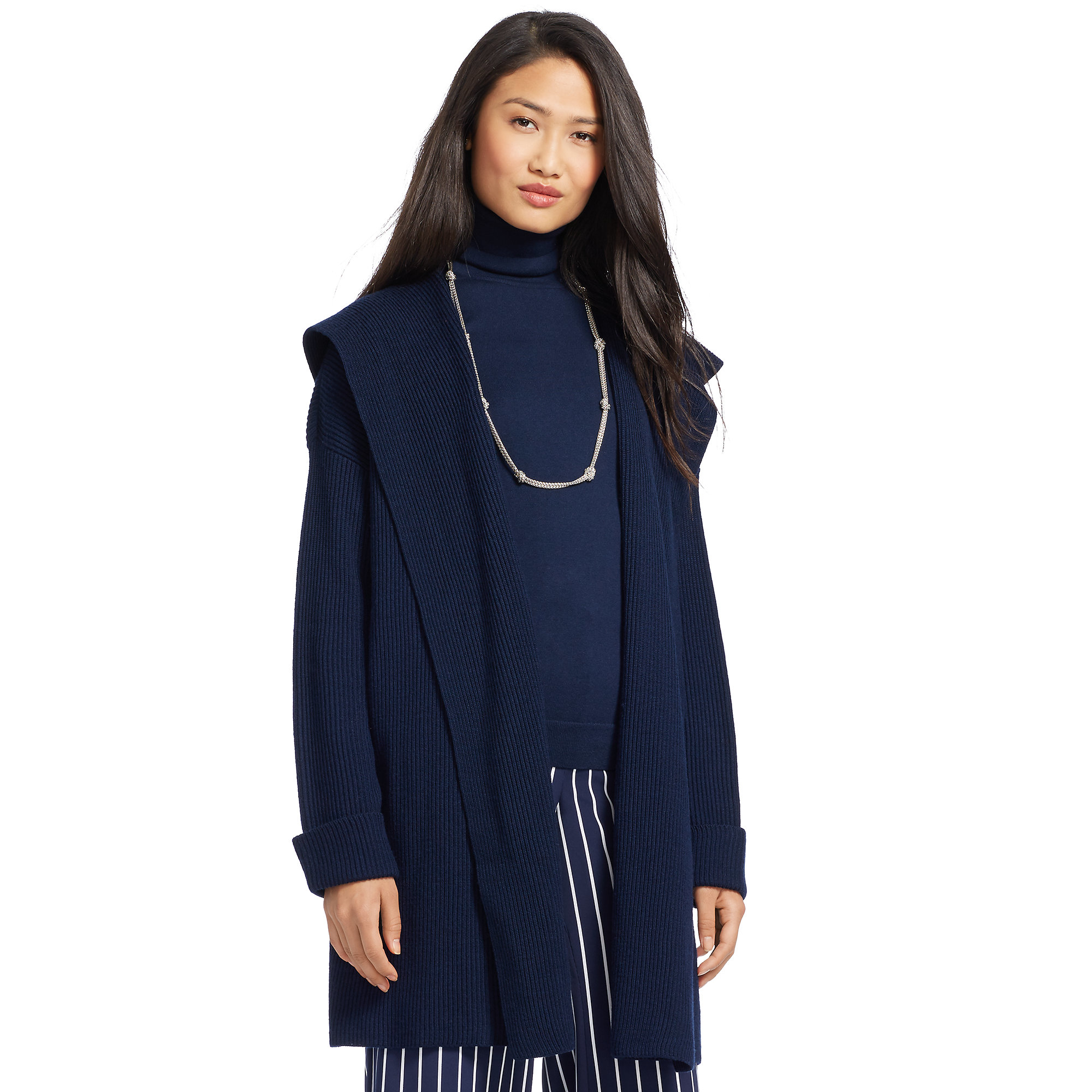 Pink pony Merino Wool Hooded Sweater in Blue | Lyst