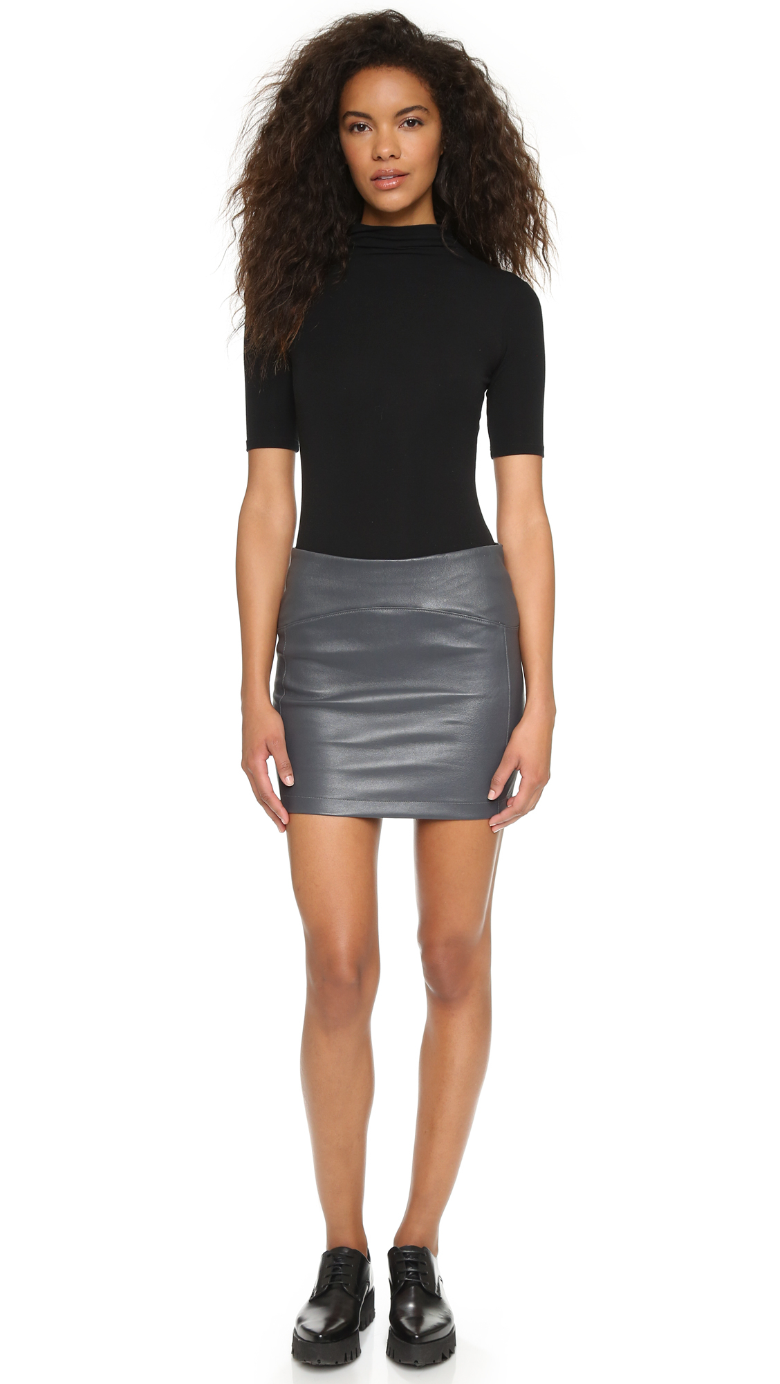Getting back to square one Leather Miniskirt in Gray | Lyst