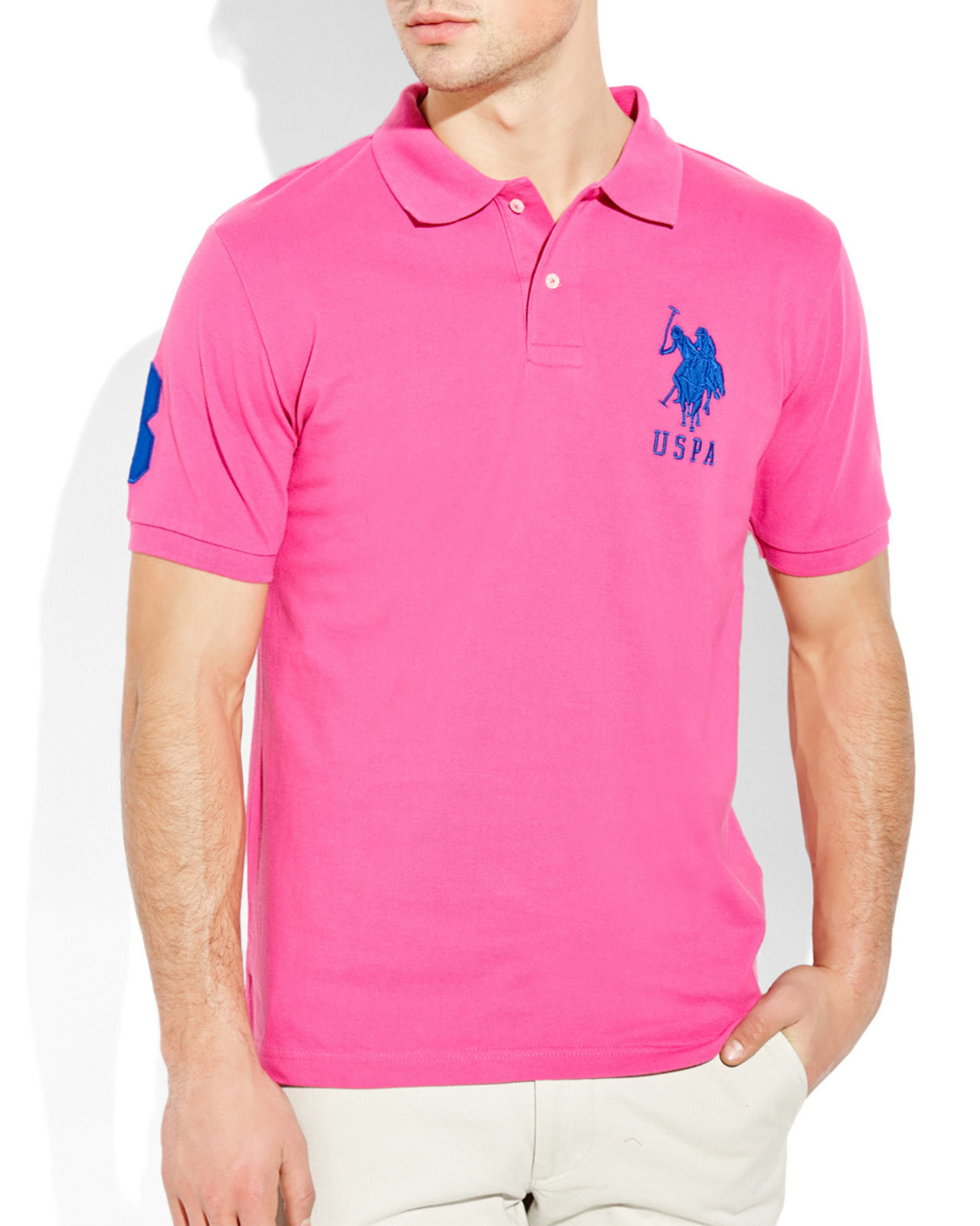 Lyst u s polo assn big logo polo shirt in pink for men for Polo shirts with logos