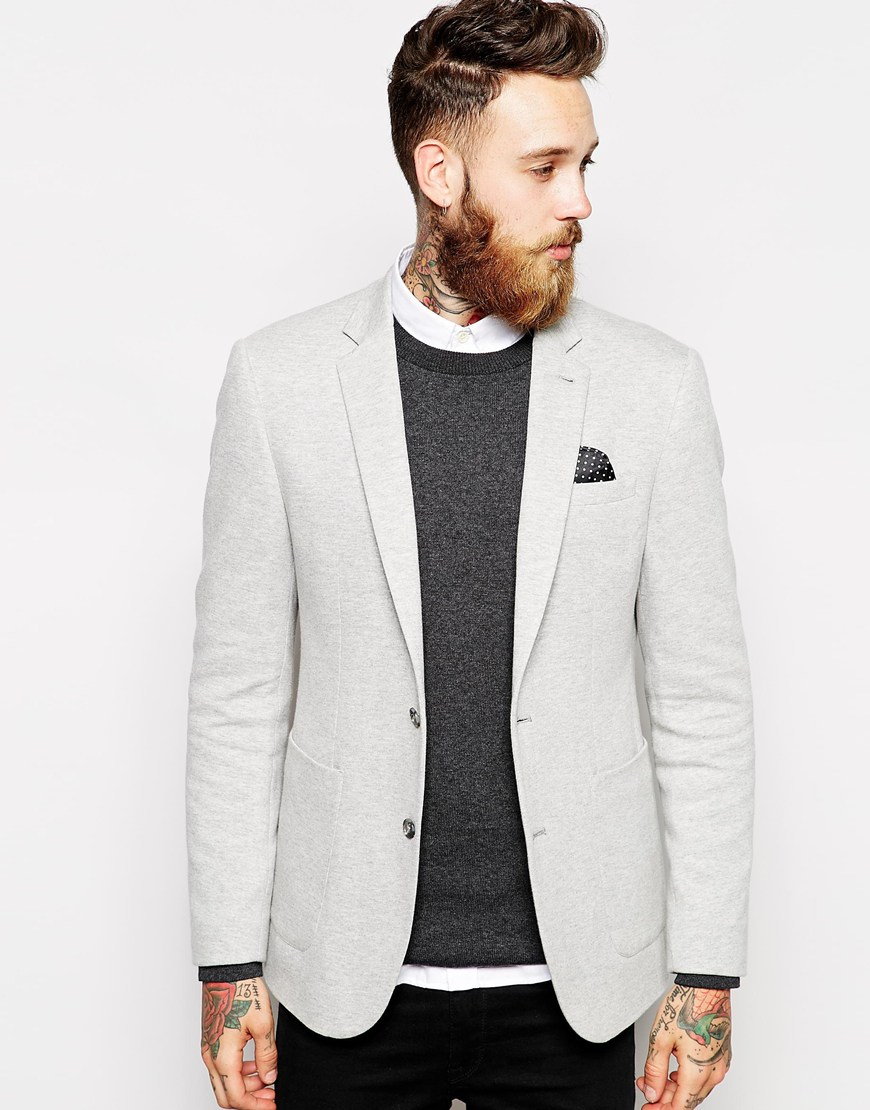 asos skinny blazer in jersey in gray for men lyst. Black Bedroom Furniture Sets. Home Design Ideas