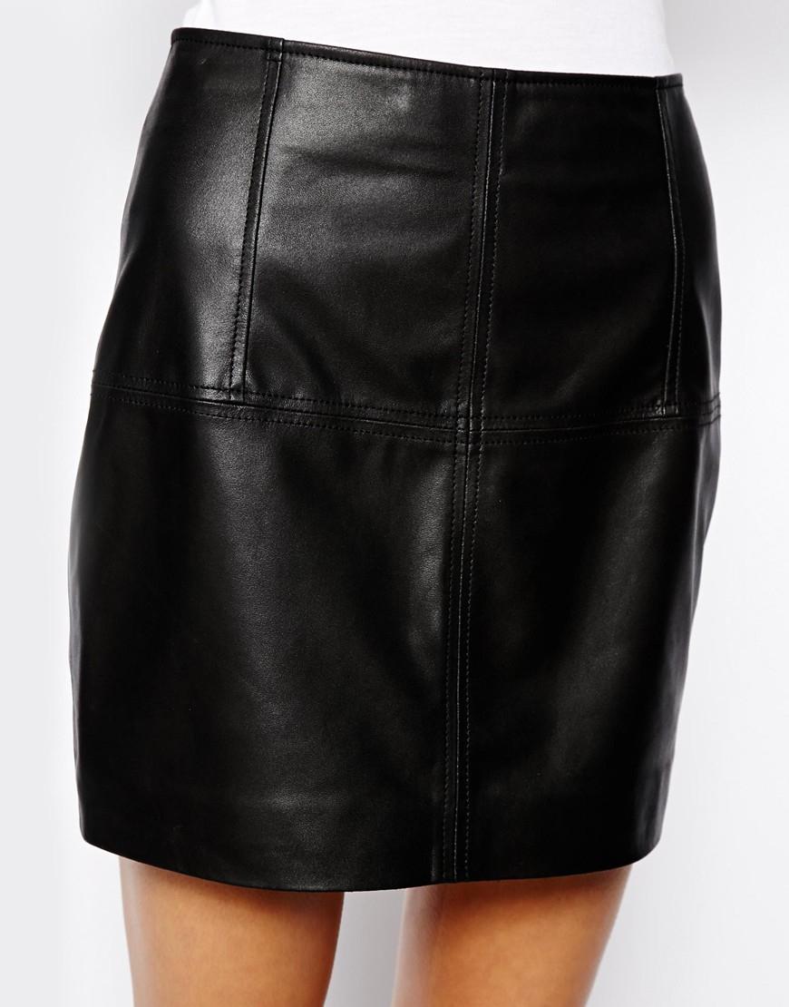 Asos Mini Skirt In Leather In Black Lyst