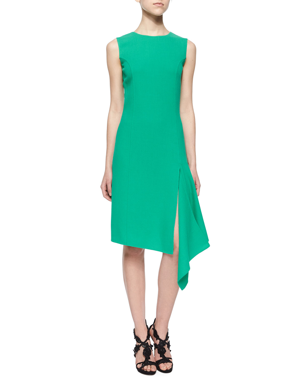 oscar de la renta asymmetrical scarf hem dress in green lyst. Black Bedroom Furniture Sets. Home Design Ideas