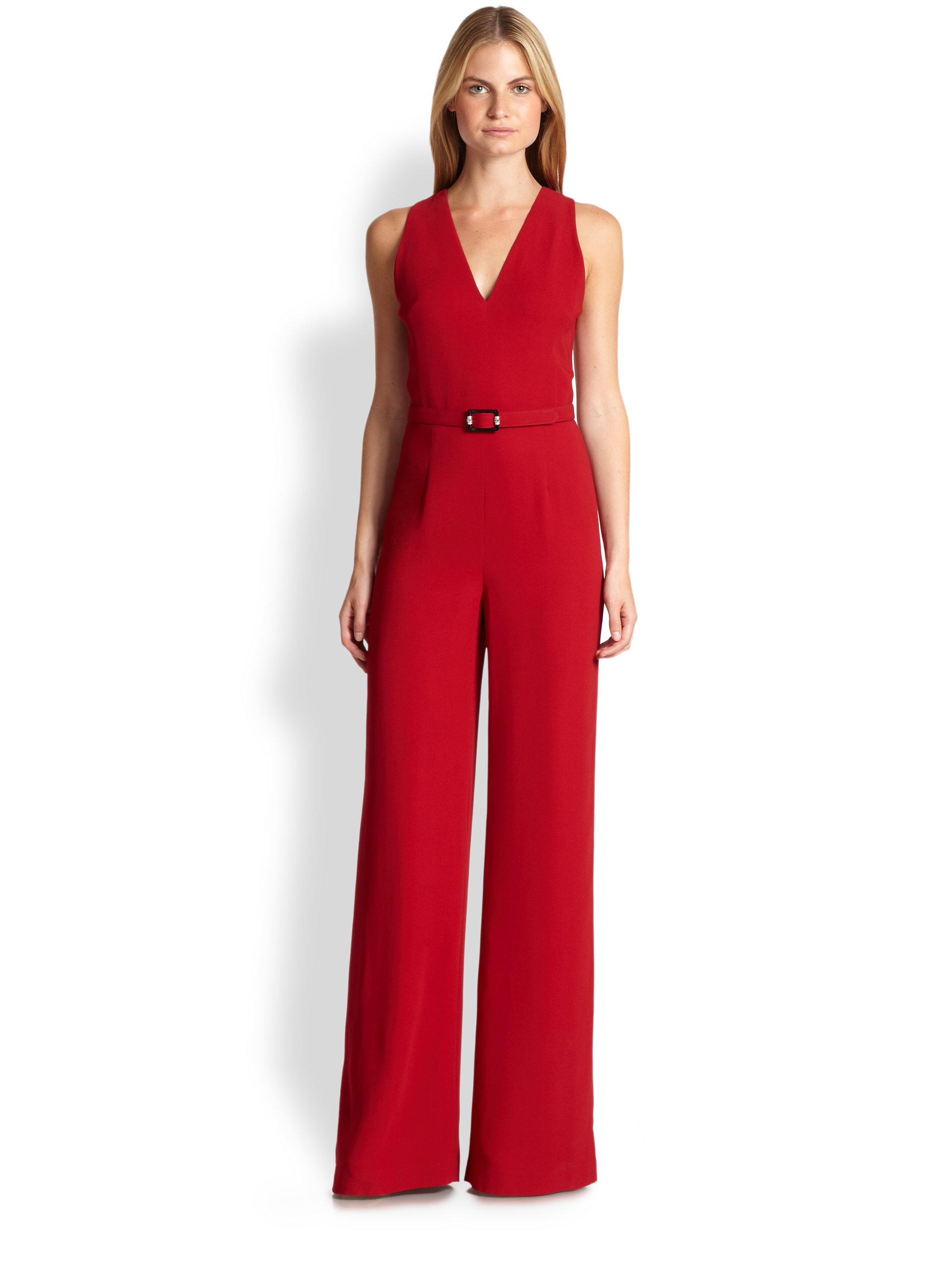 Lyst Ralph Lauren Black Label Charisse Jersey Jumpsuit In Red