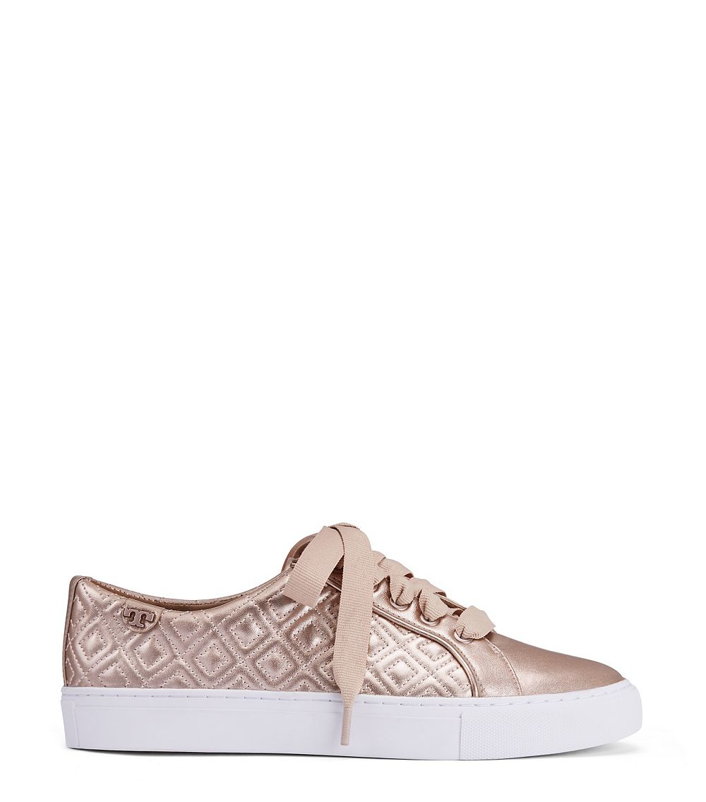 1c0bf8faab14e Lyst - Tory Burch Marion Quilted Metallic Sneaker in Pink