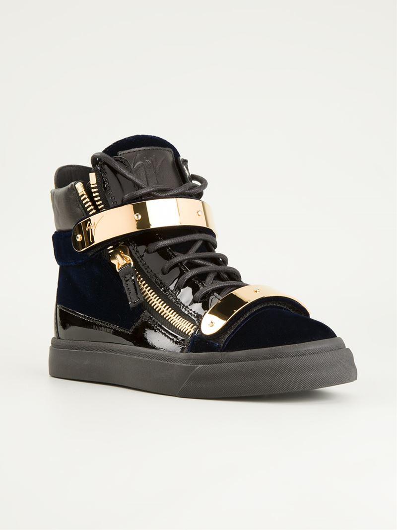 giuseppe zanotti gold strap hi top sneakers in blue lyst. Black Bedroom Furniture Sets. Home Design Ideas