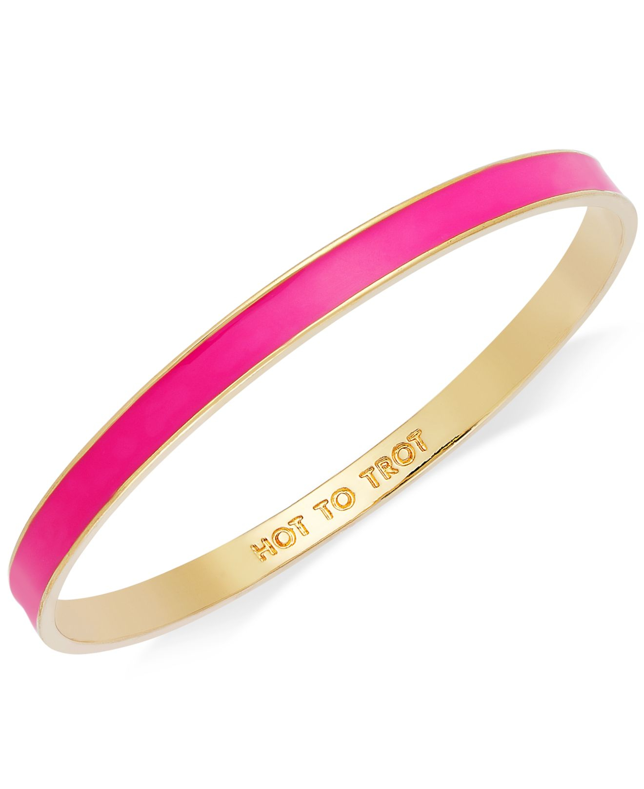 kate spade gold tone fluorescent pink hot to trot idiom bangle bracelet in metallic lyst. Black Bedroom Furniture Sets. Home Design Ideas