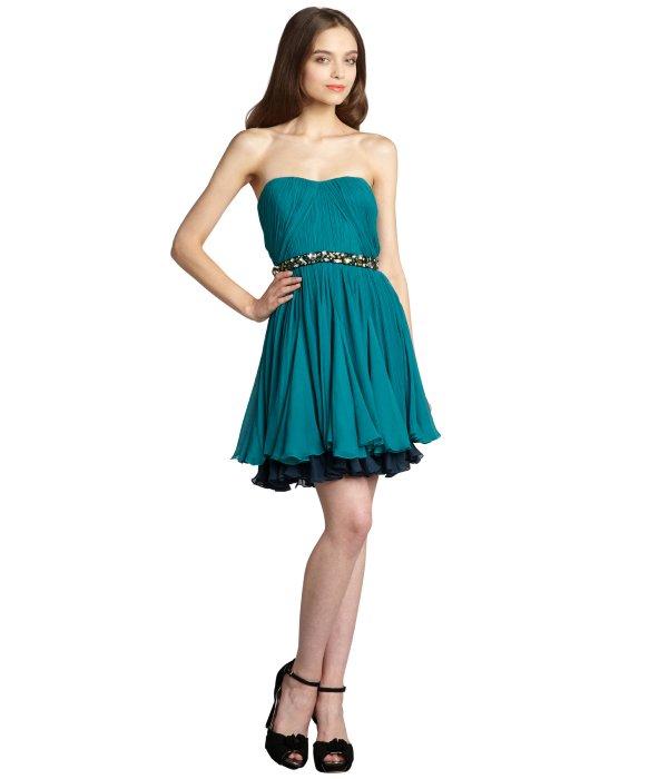 Vera wang lavender Turquoise Crinkle Silk Chiffon Strapless Dress ...