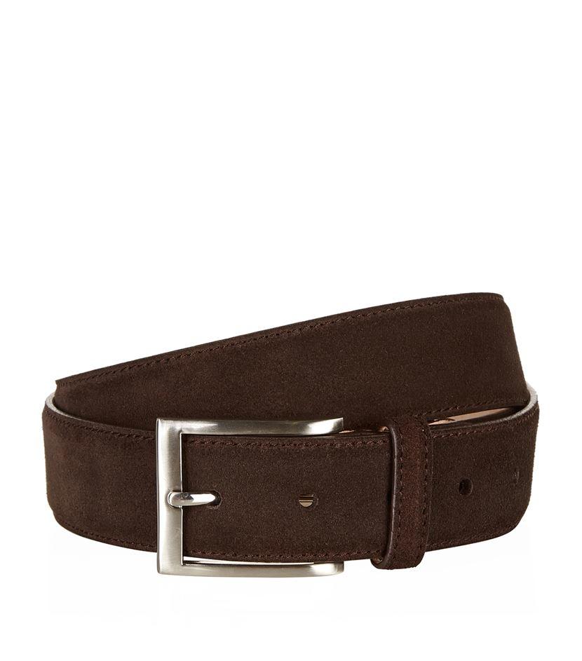 harrods brown suede belt for lyst