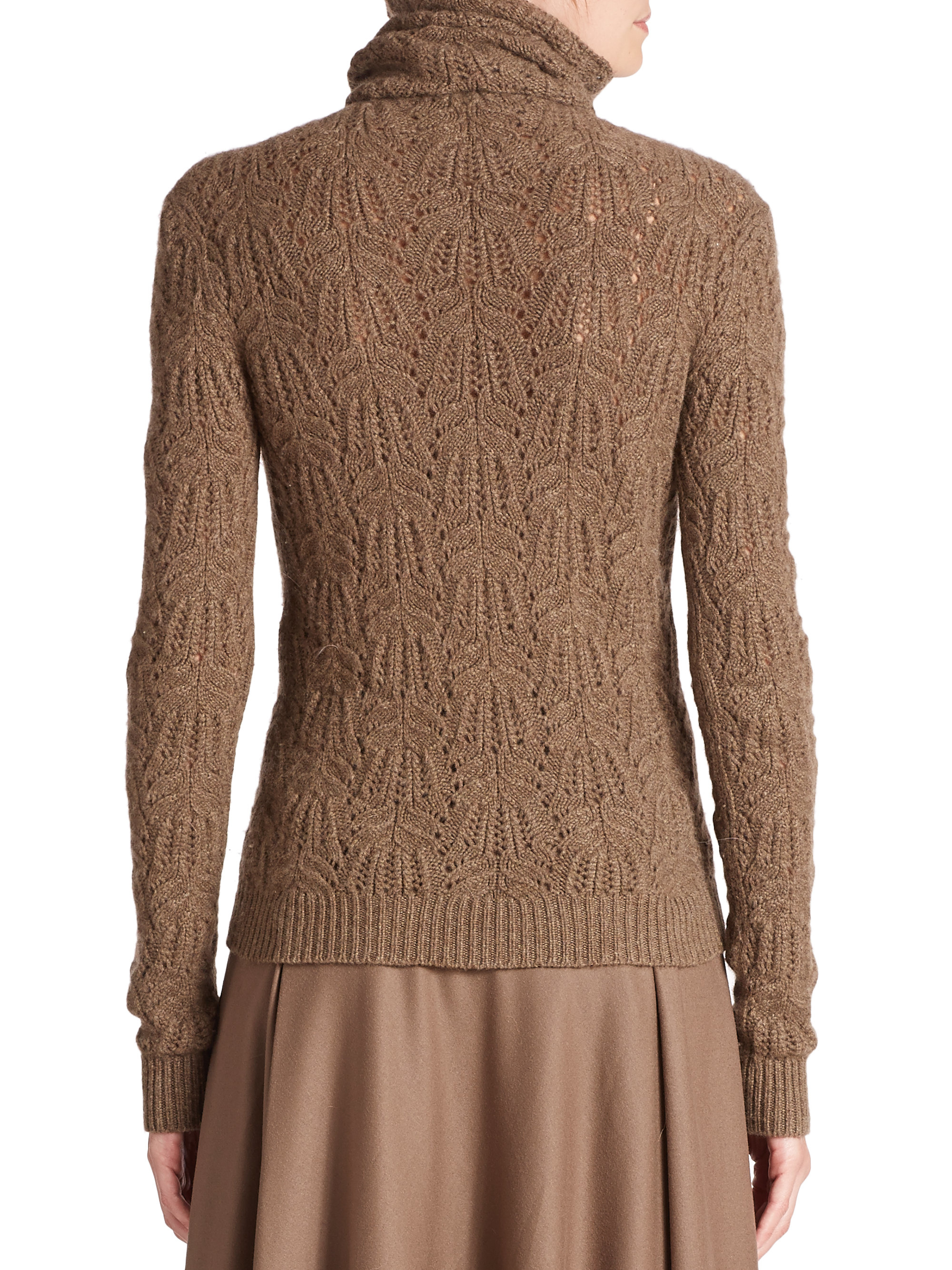 Ralph lauren Cashmere Crochet Turtleneck Sweater in Brown | Lyst