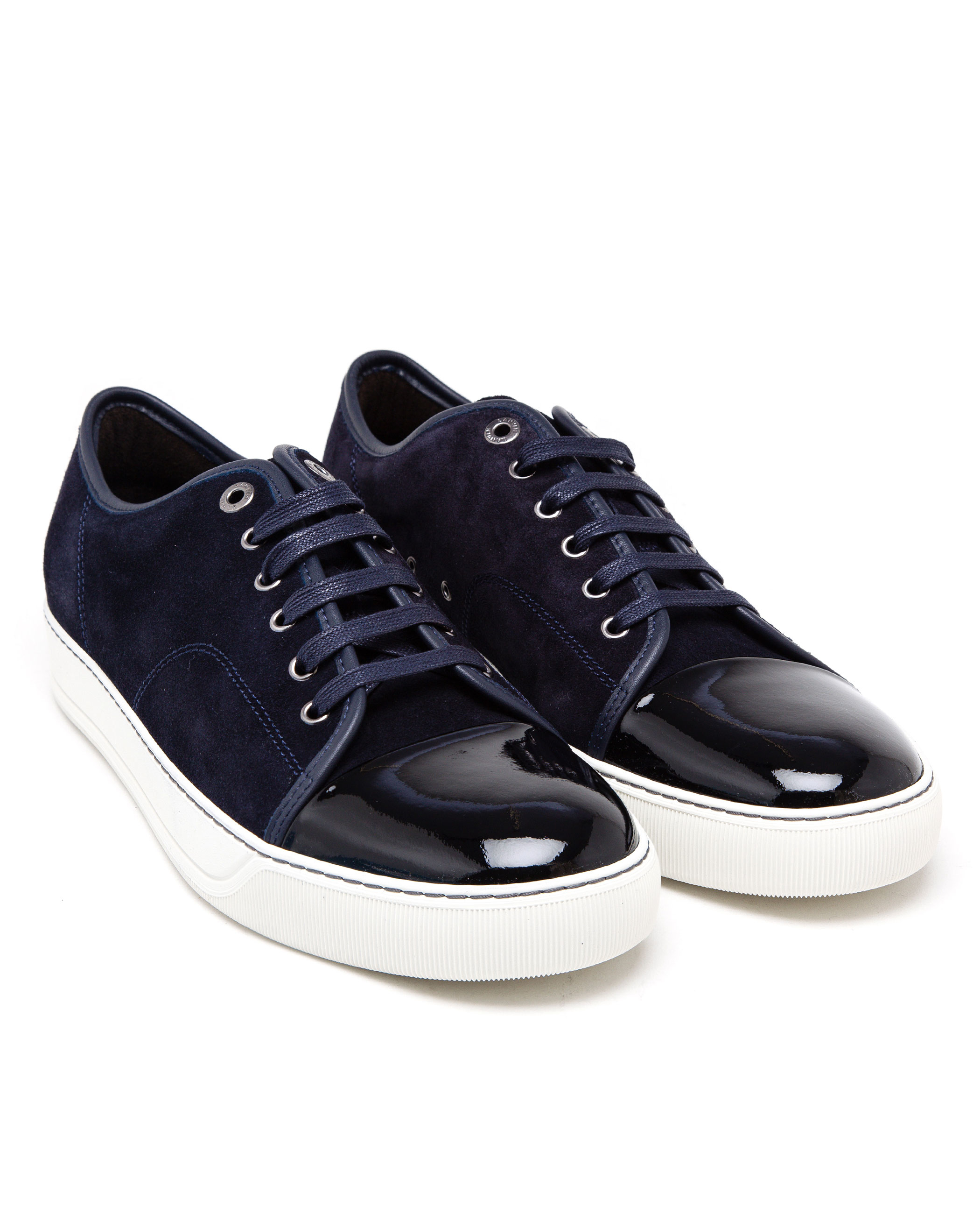 8d516f96f12b Lyst - Lanvin Suede And Patent Leather Sneakers in Blue for Men