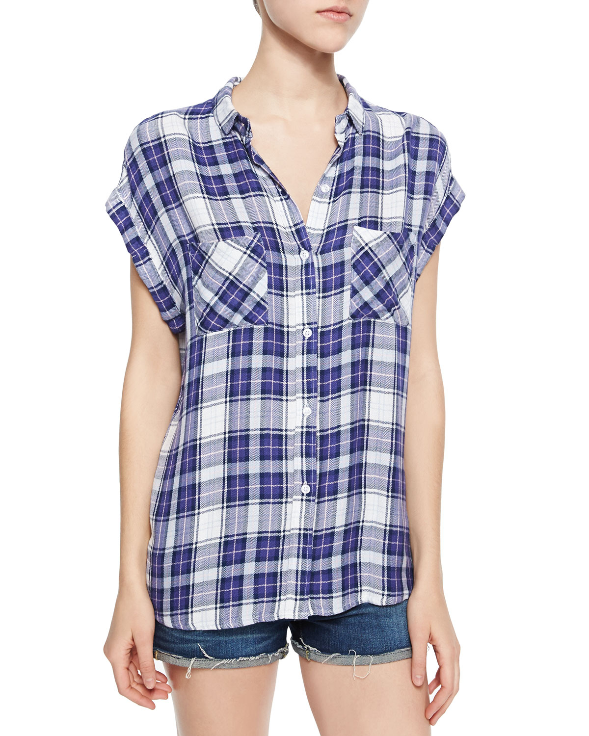 Rails britt short sleeve plaid shirt in purple lavender Short sleeve plaid shirts