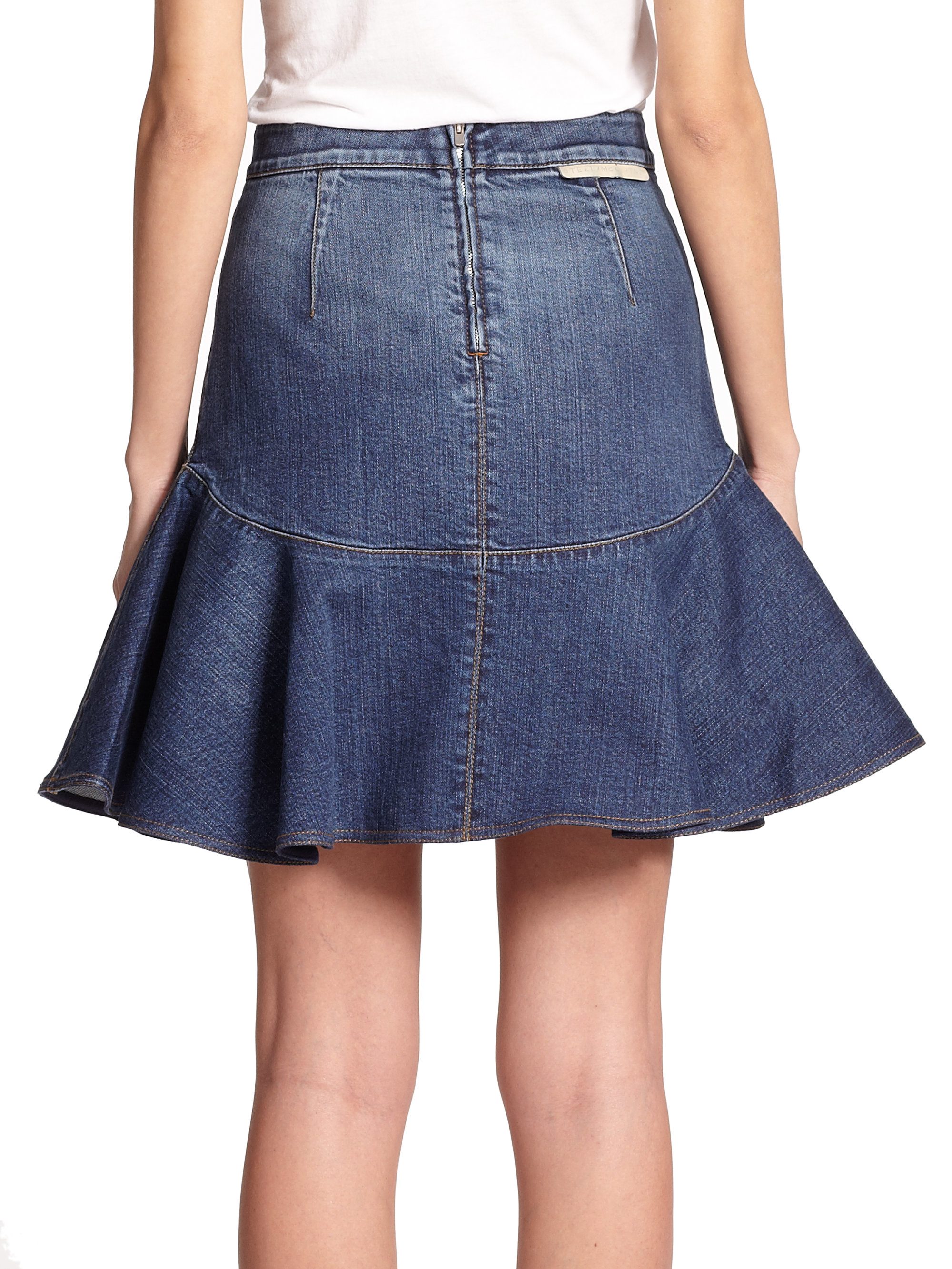 Stella mccartney Flared Denim Skirt in Blue | Lyst