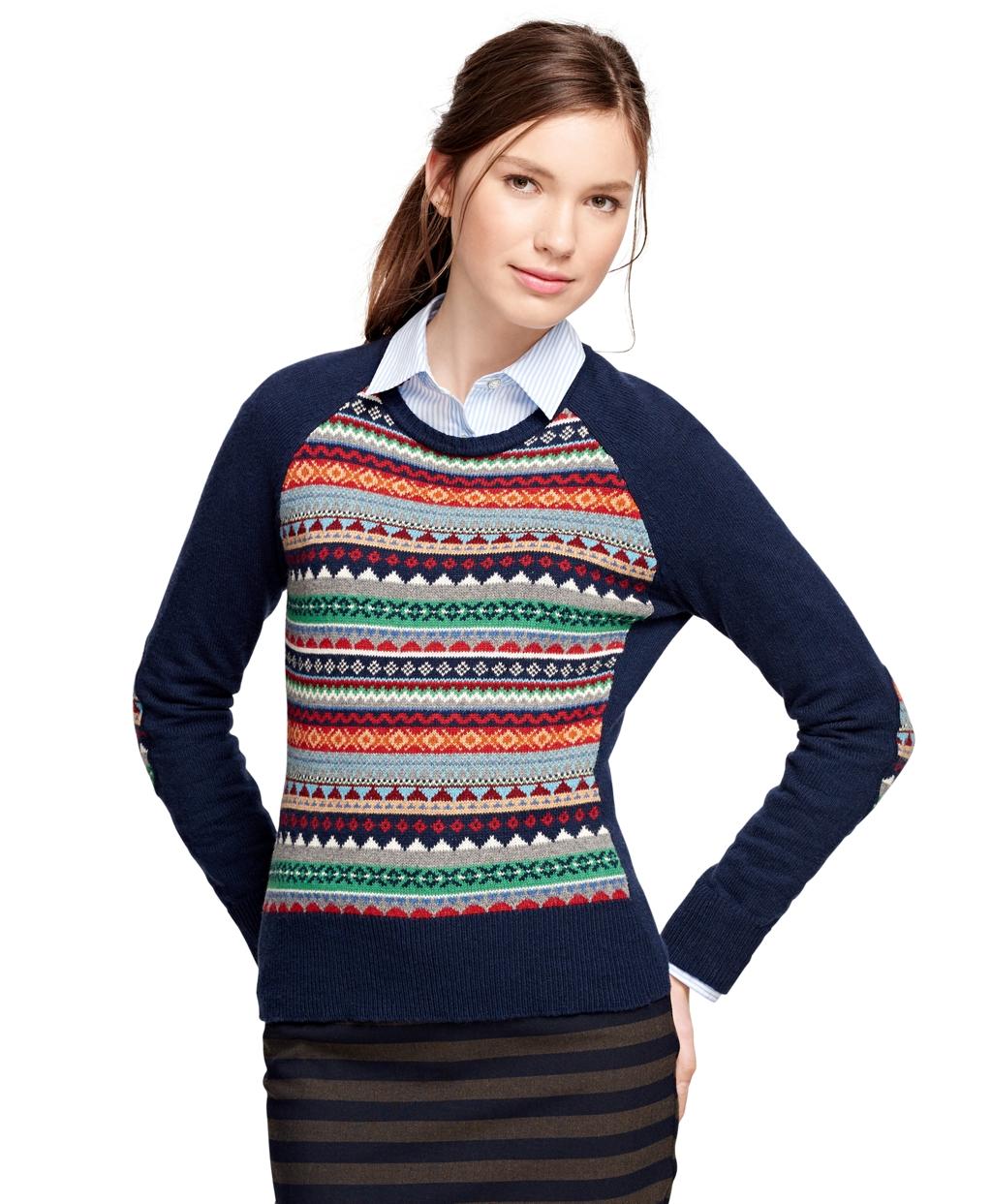 Brooks brothers Cotton Blend Fair Isle Sweater | Lyst