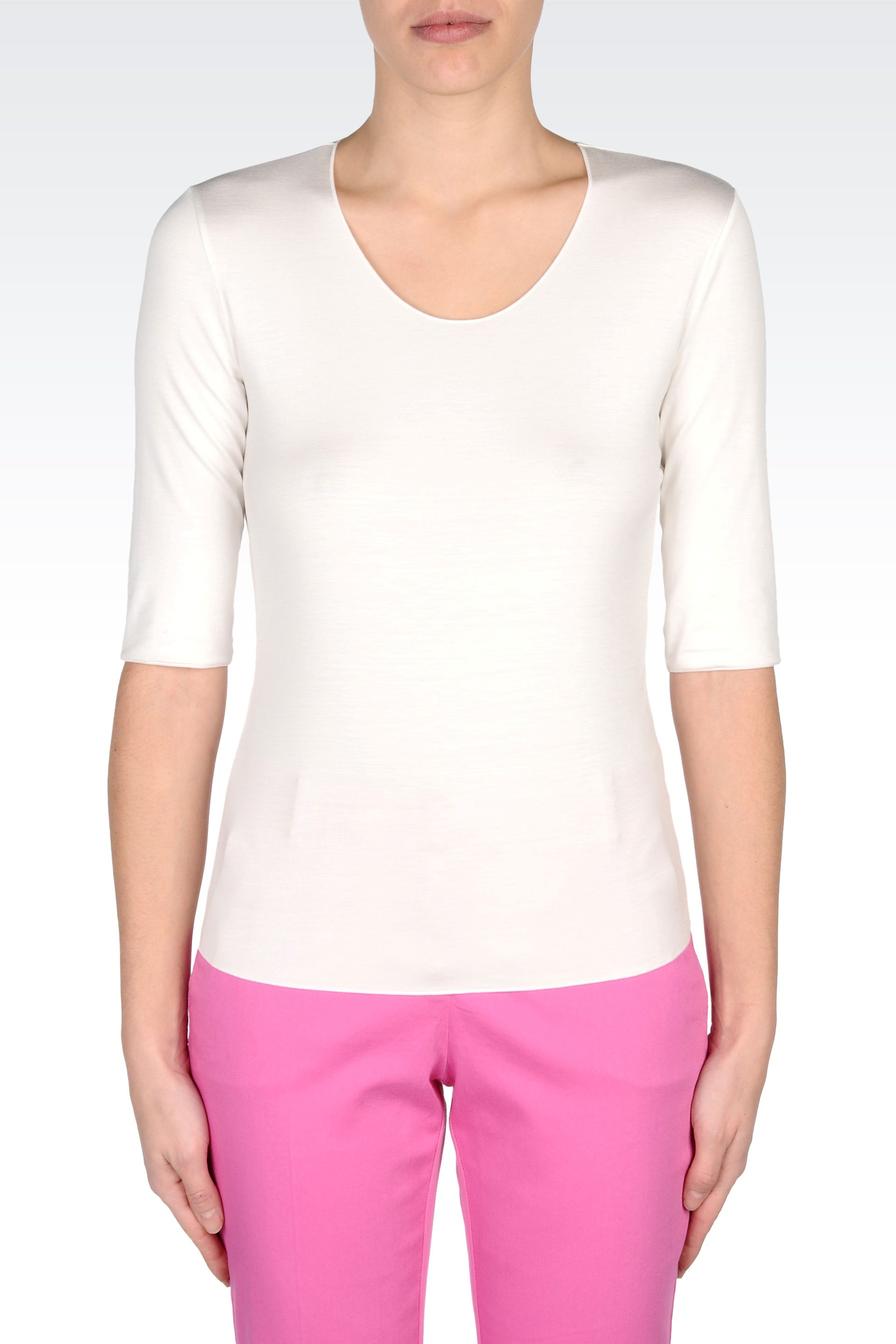 Armani Viscose Tshirt With Elbow Length Sleeves In White