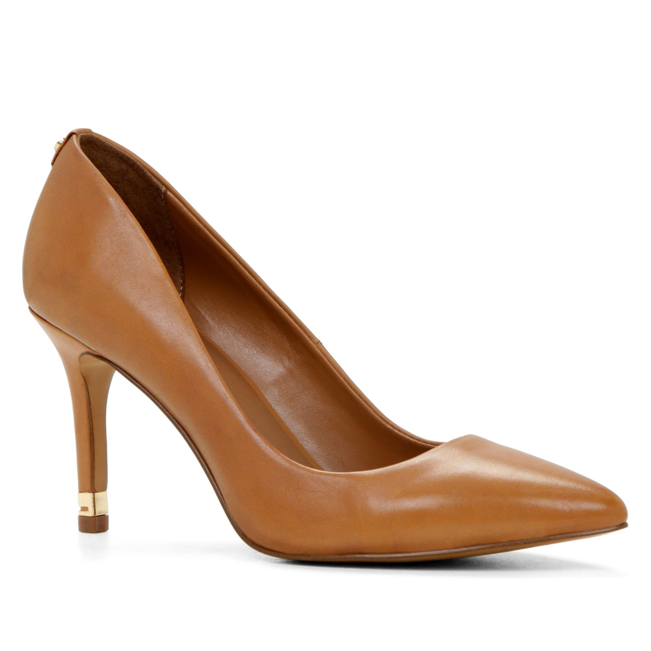 aldo unenan metal detail court shoes in brown cognac lyst