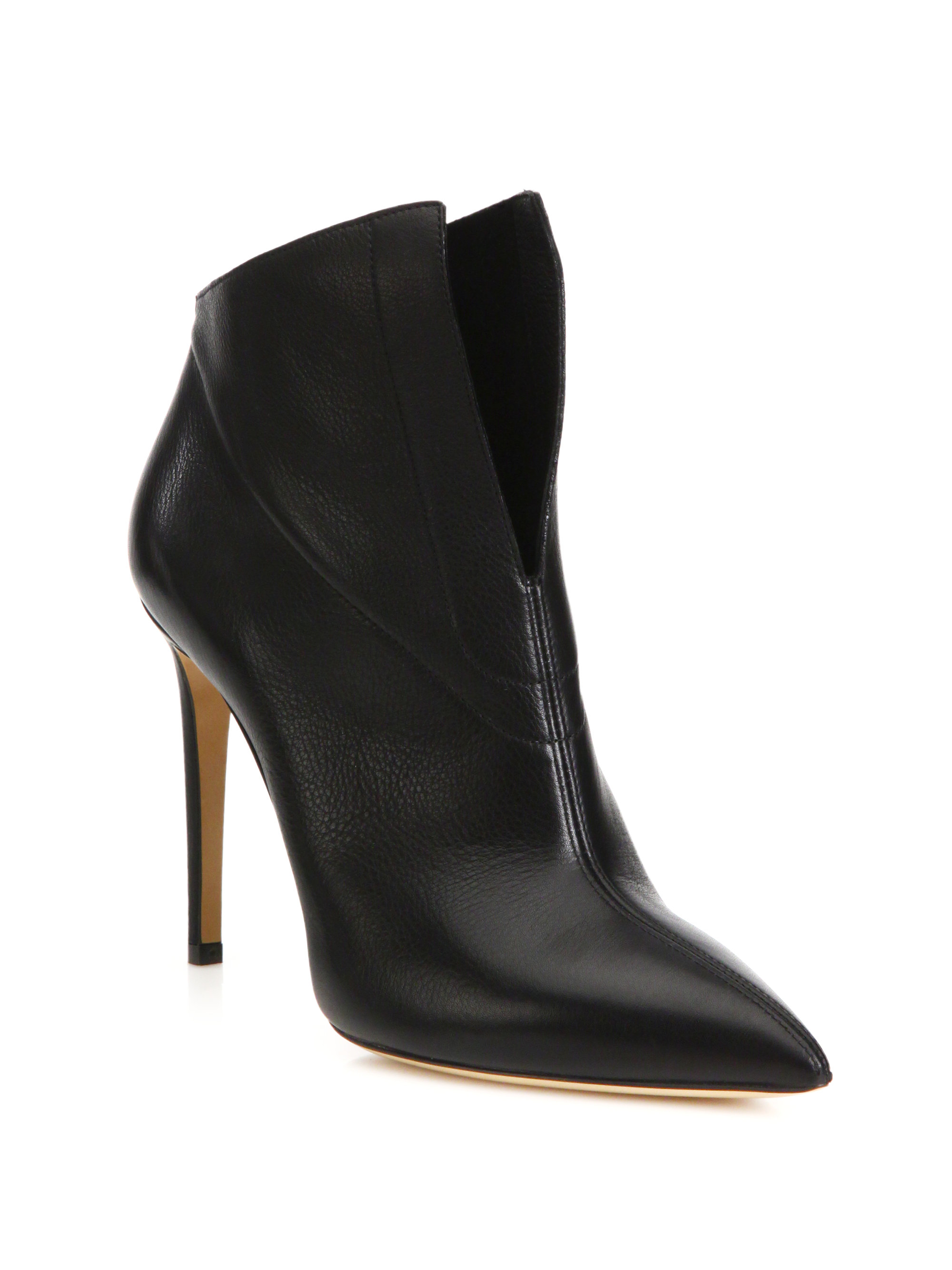Casadei Leather Split Front Booties In Black Lyst