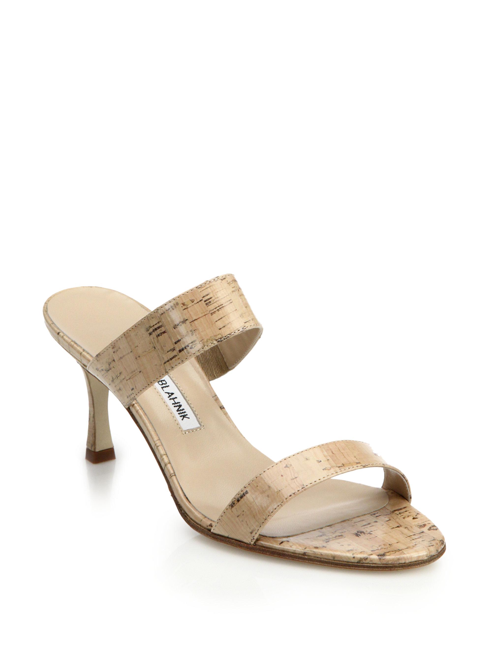 Manolo Blahnik Pat Cork Amp Leather Slide Sandals In Brown