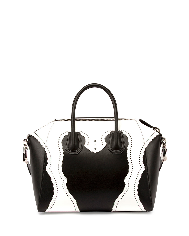 a7dd3a850f4b Lyst - Givenchy Black And White Calfskin Mini  antigona  Convertible ...