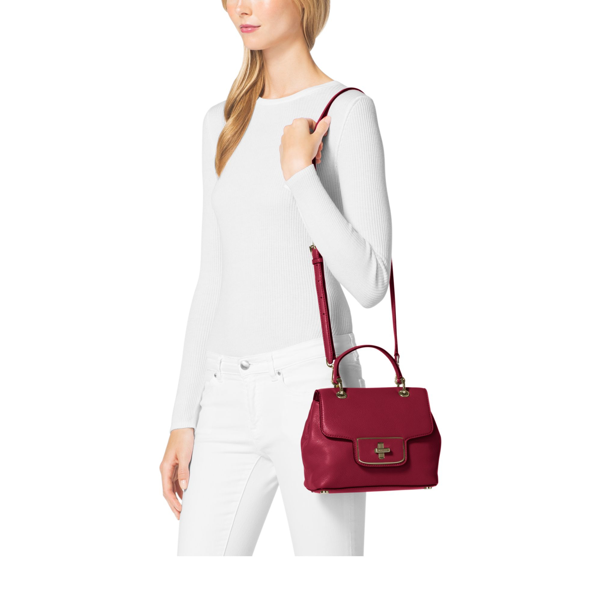 260b7fa90118 ... wholesale lyst michael kors emery small leather satchel in red 4a25b  e8909