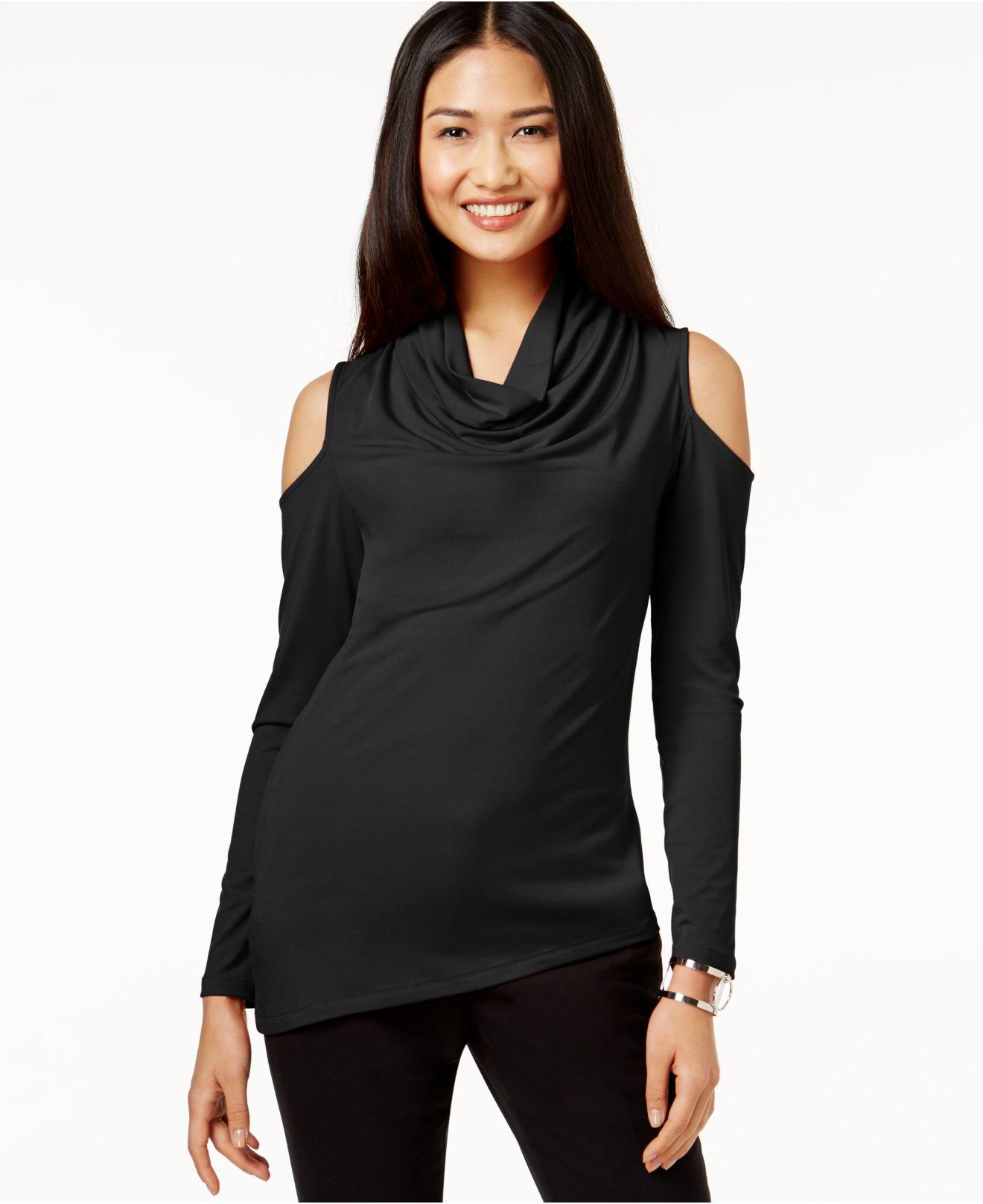 Dkny Cowl-neck Cold-shoulder Top in Black | Lyst