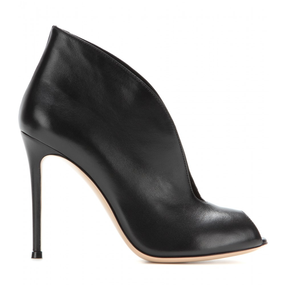gianvito v leather peep toe ankle boots in black