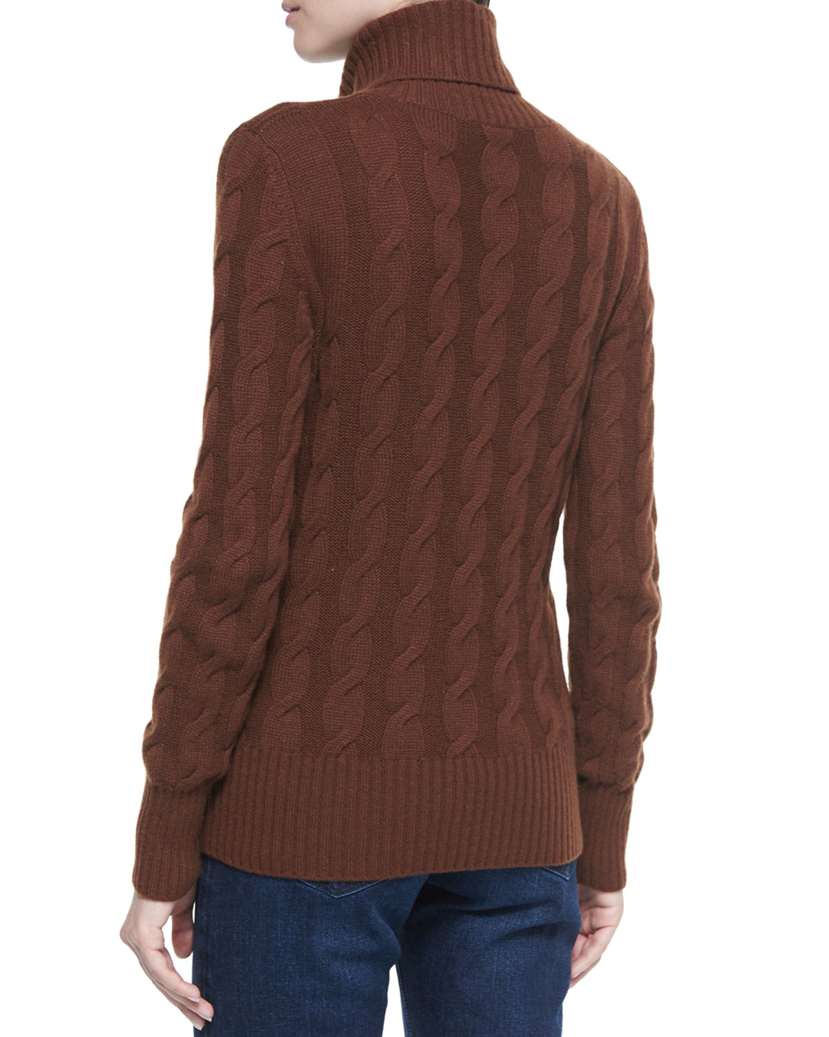 Loro piana Cashmere Cable Knit Turtleneck Sweater in Brown | Lyst