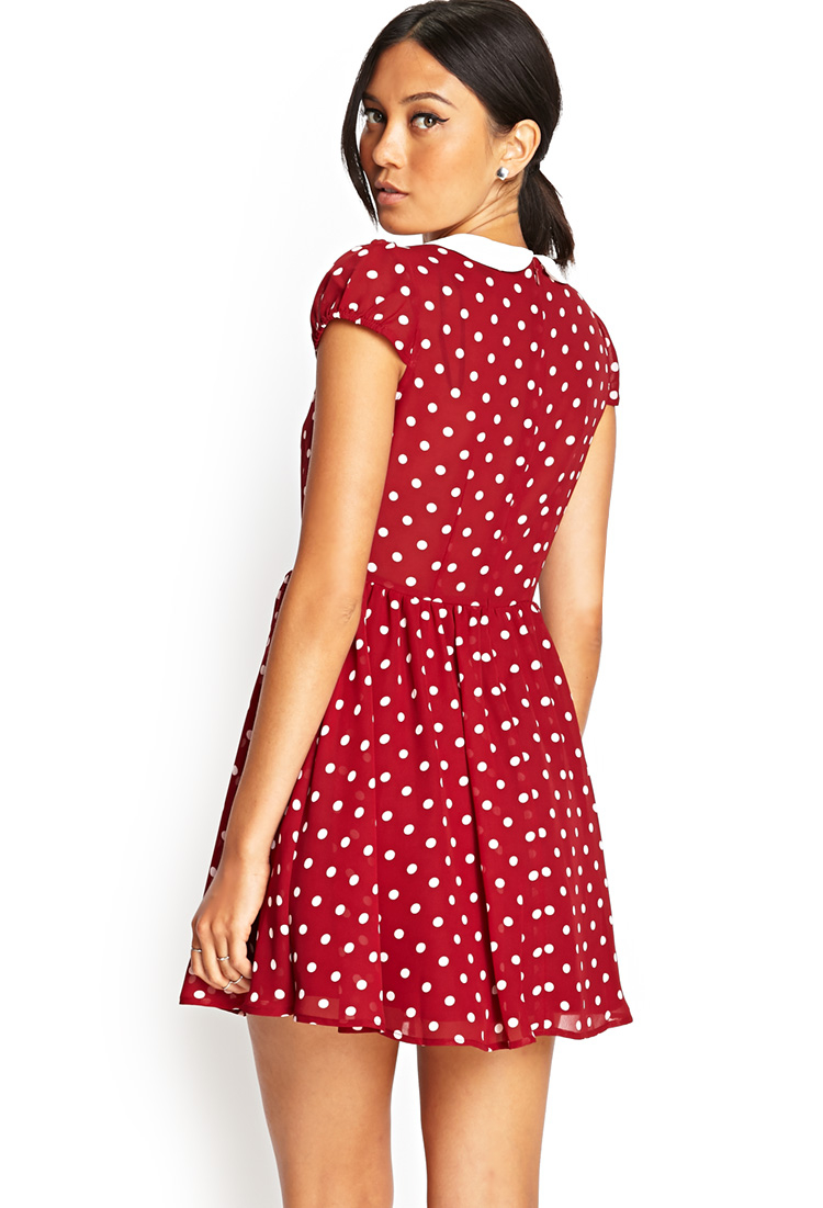 Forever 21 Polka Dot Fit Amp Flare Dress In Red Lyst