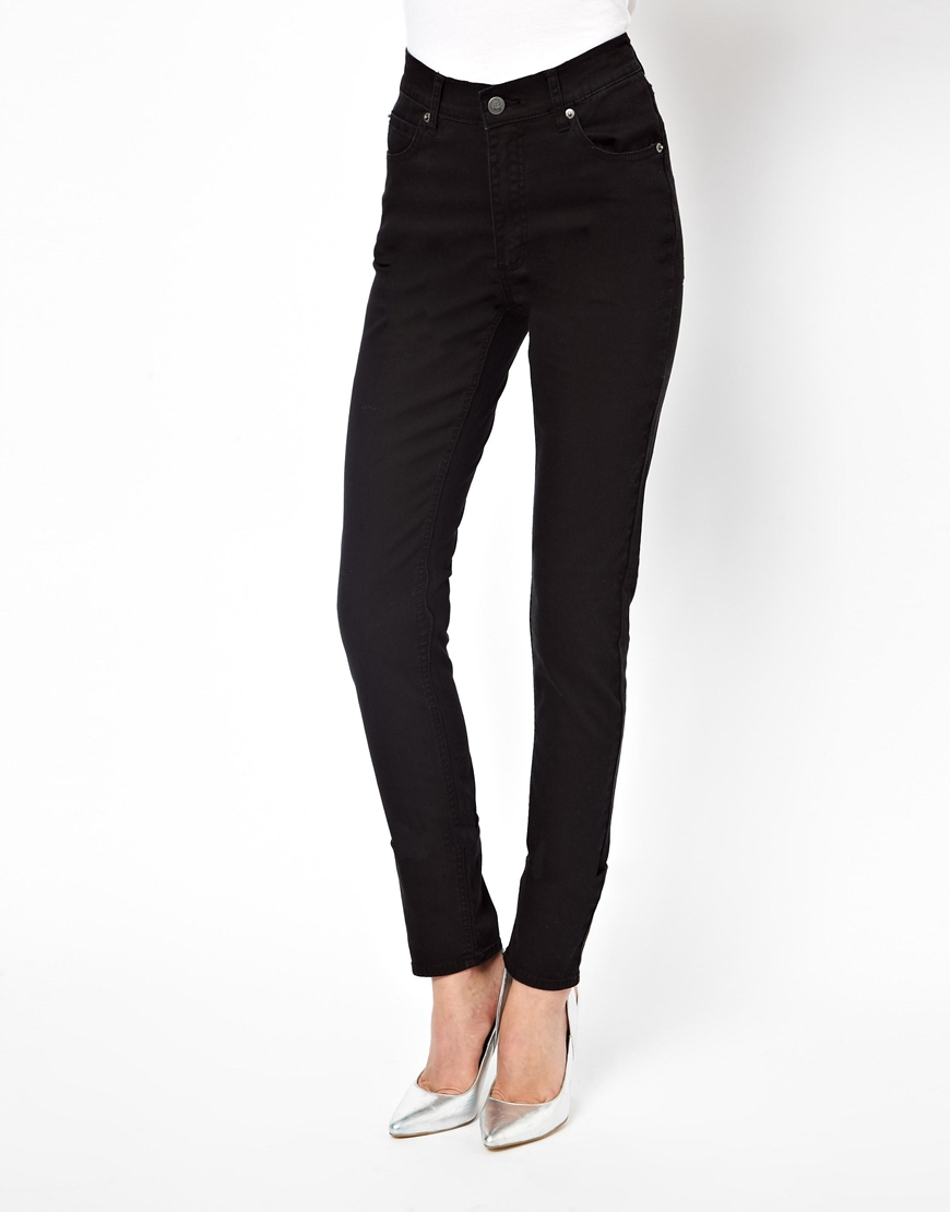 Cheap monday Second Skin High Waist Skinny Jeans in Black | Lyst