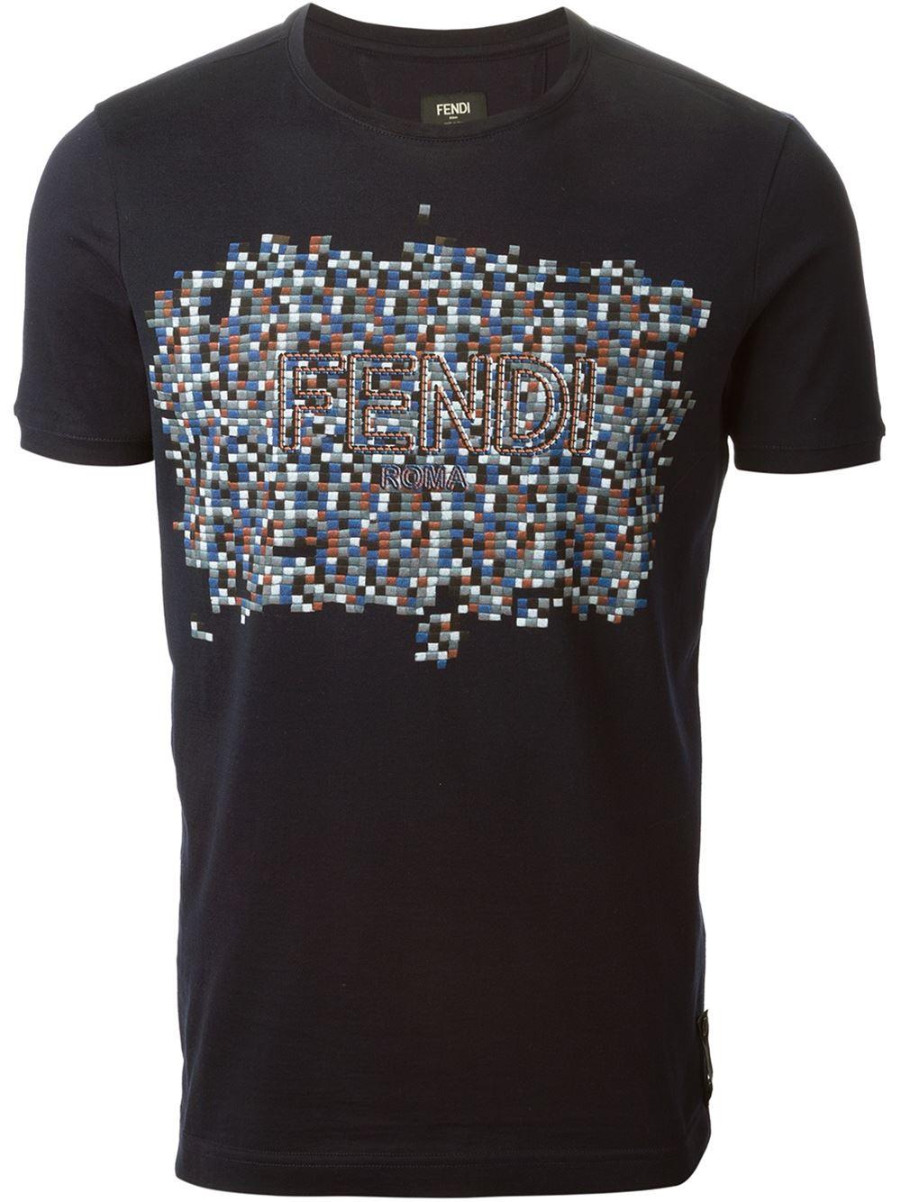 Fendi Embroidered Digital Logo T Shirt In Blue For Men Lyst