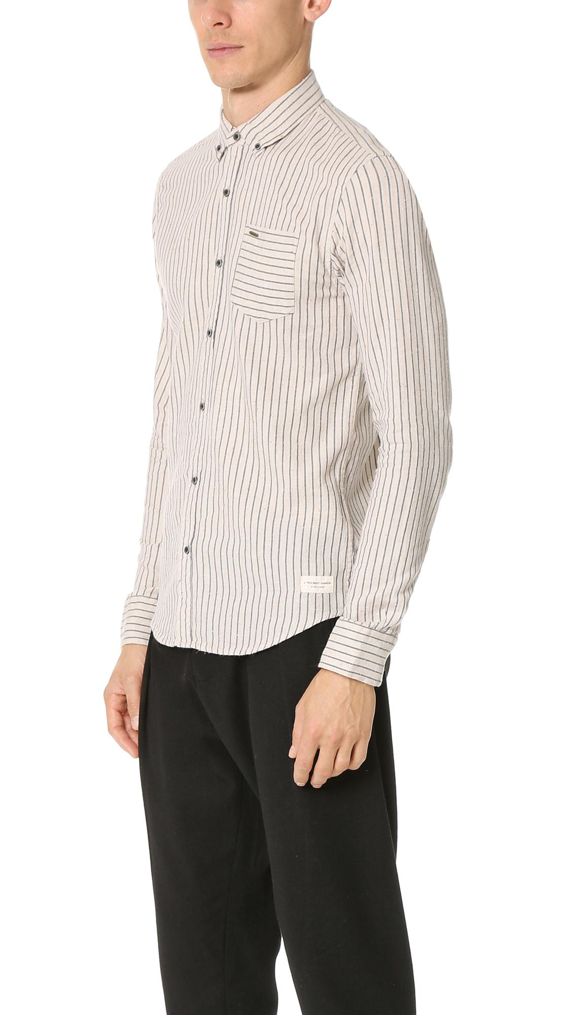 Lyst scotch soda brushed cotton button down shirt in for Cotton button down shirts men