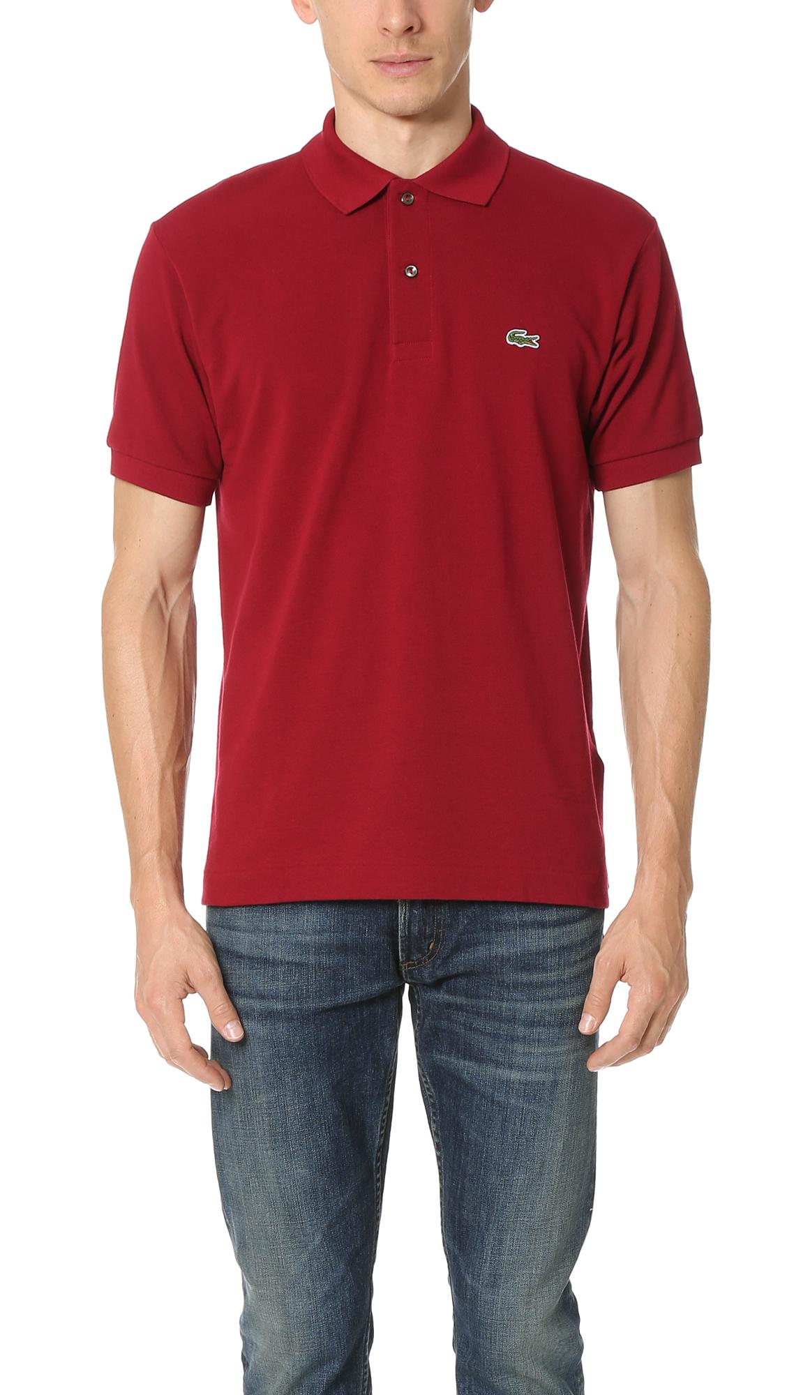 Lacoste short sleeve classic polo shirt in pink for men lyst for Short sleeve lacoste shirt