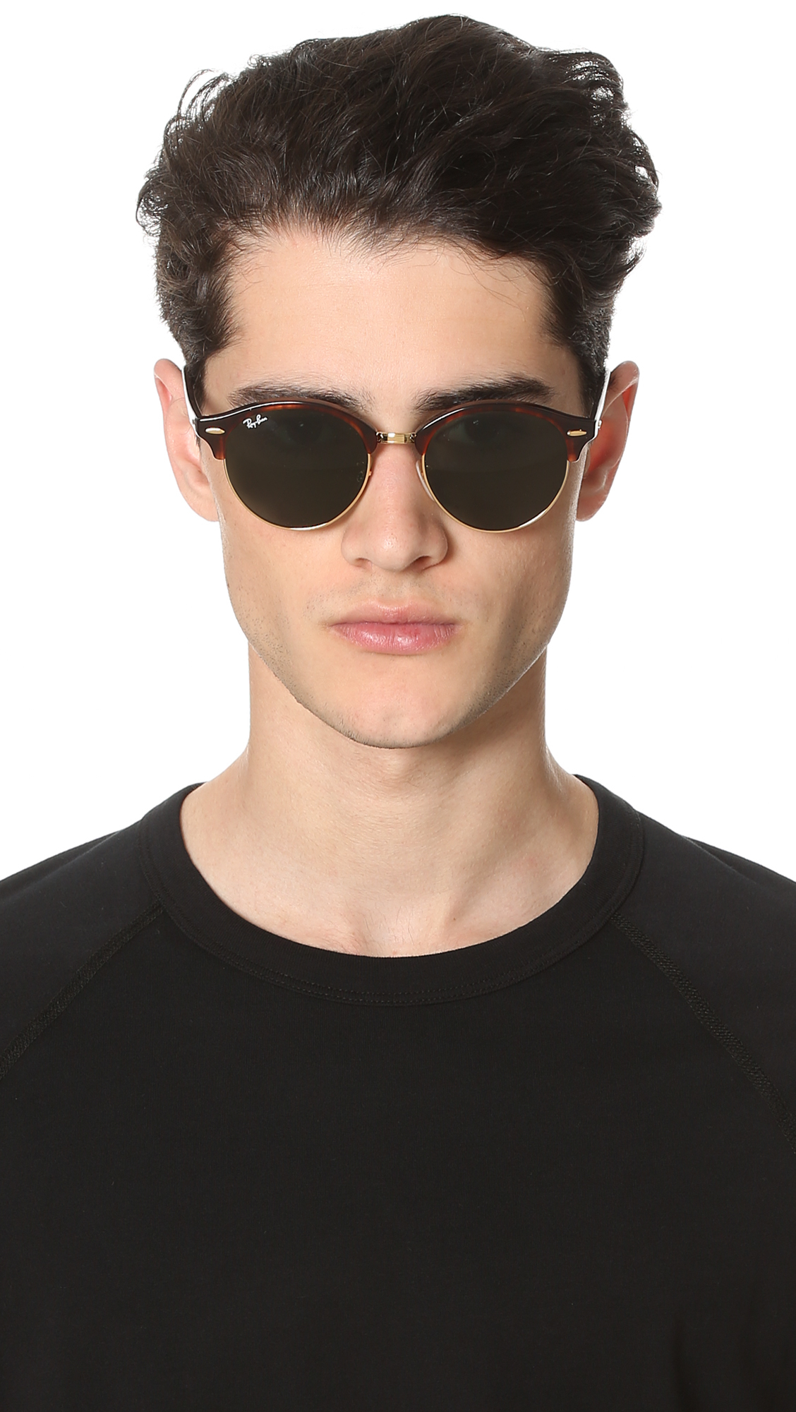 Ray Ban Club Round Sunglasses In Brown For Men Lyst