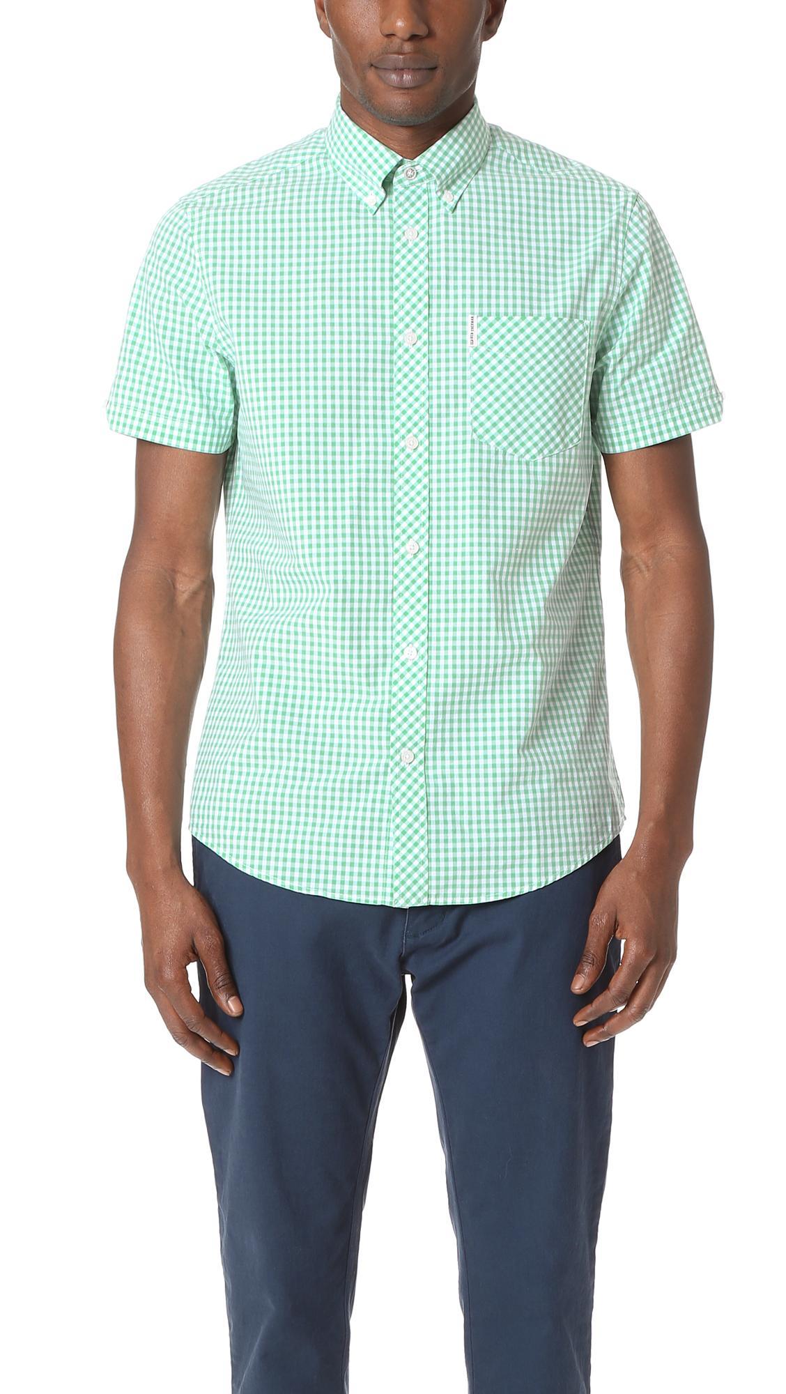 Ben Sherman Short Sleeve Core Gingham Shirt In Blue For