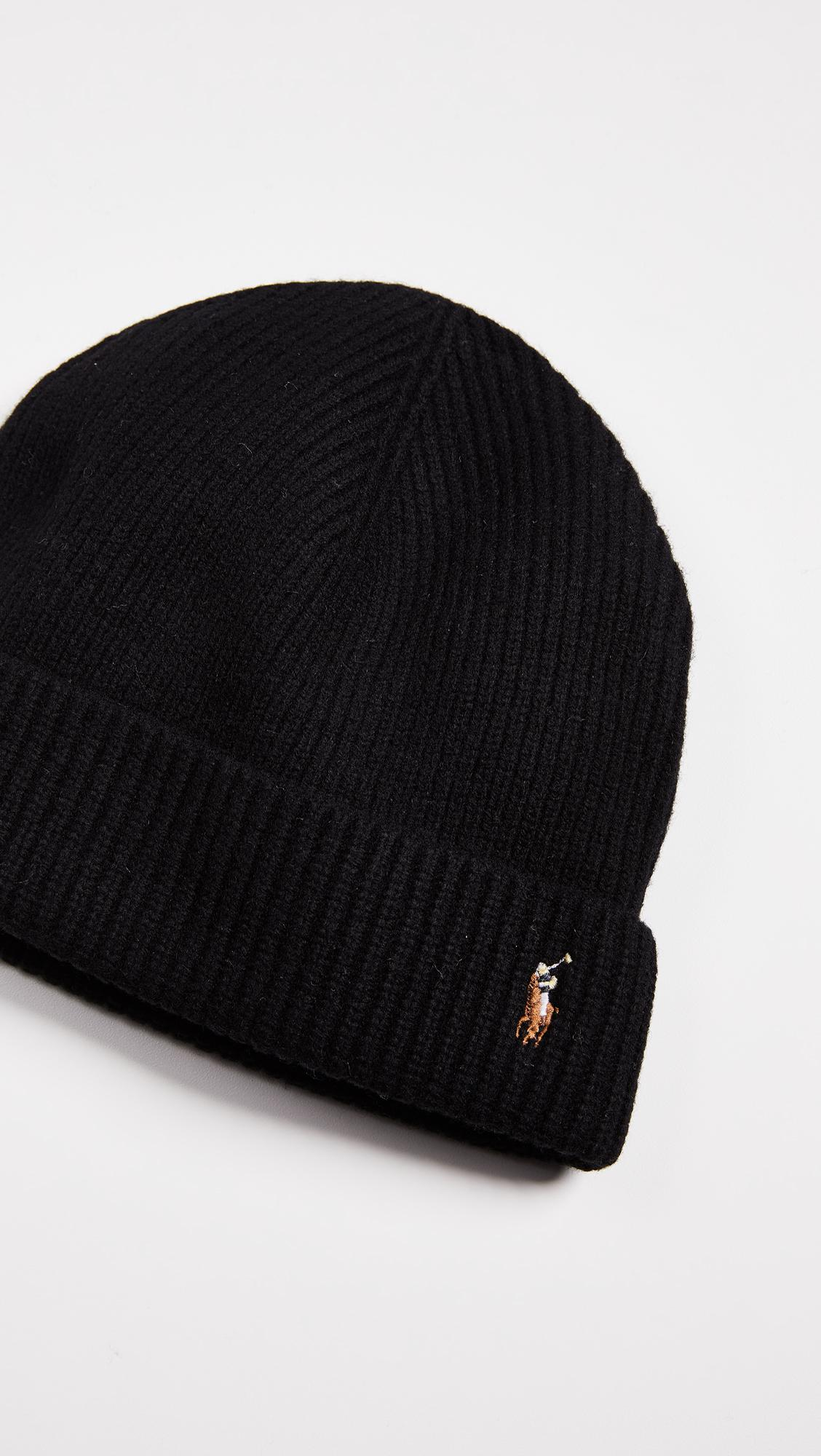 Lyst - Polo Ralph Lauren Signature Merino Cuff Hat in Black for Men dc99f2c7f22