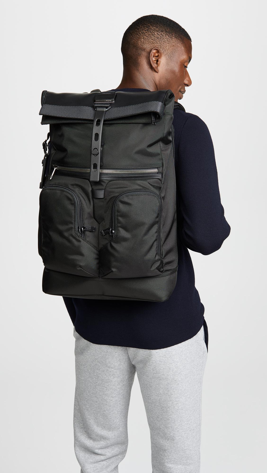 34b41733fd1 Tumi - Black Alpha Bravo London Rolltop Backpack for Men - Lyst. View  fullscreen