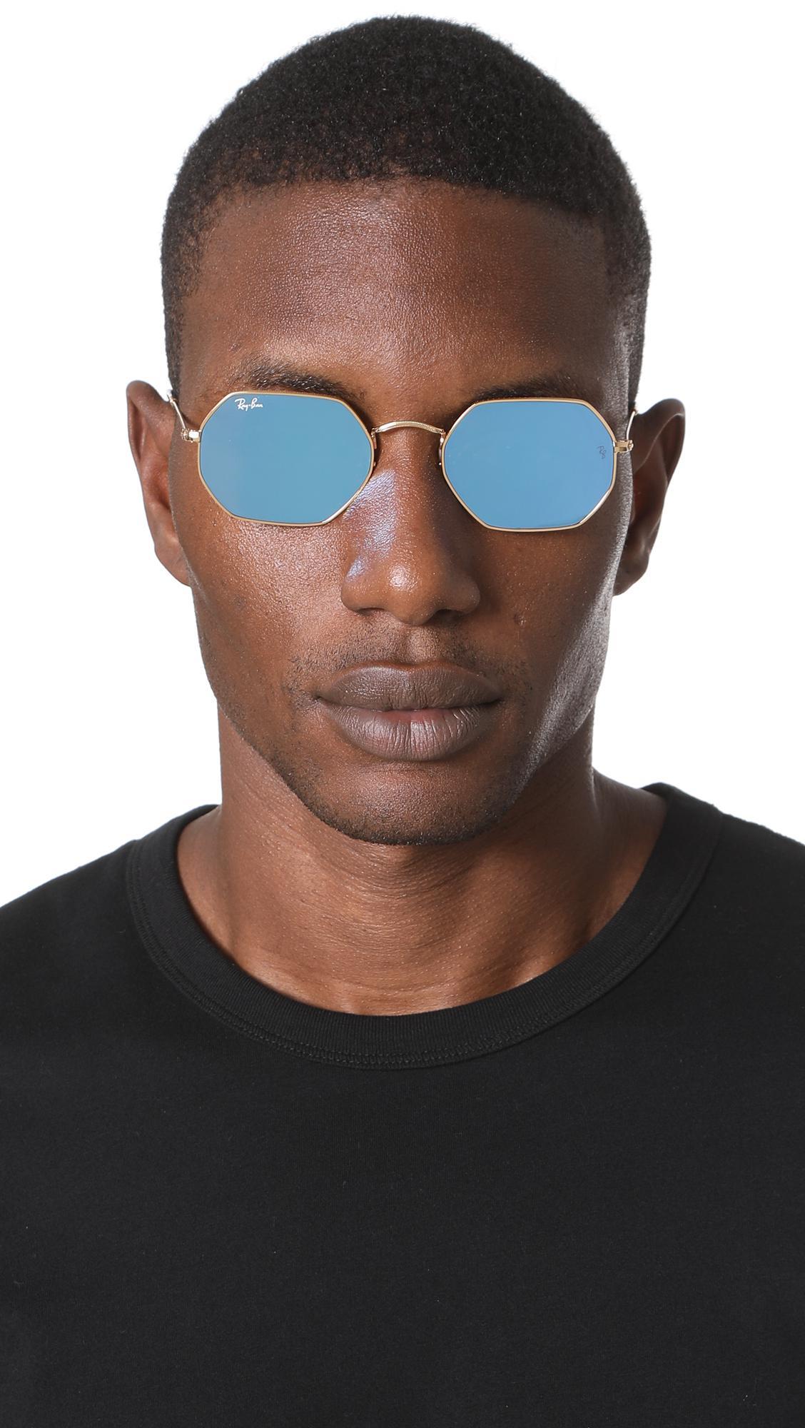 f7df768df3 Ray-Ban - Blue Octagon Flat Lens Sunglasses for Men - Lyst. View fullscreen