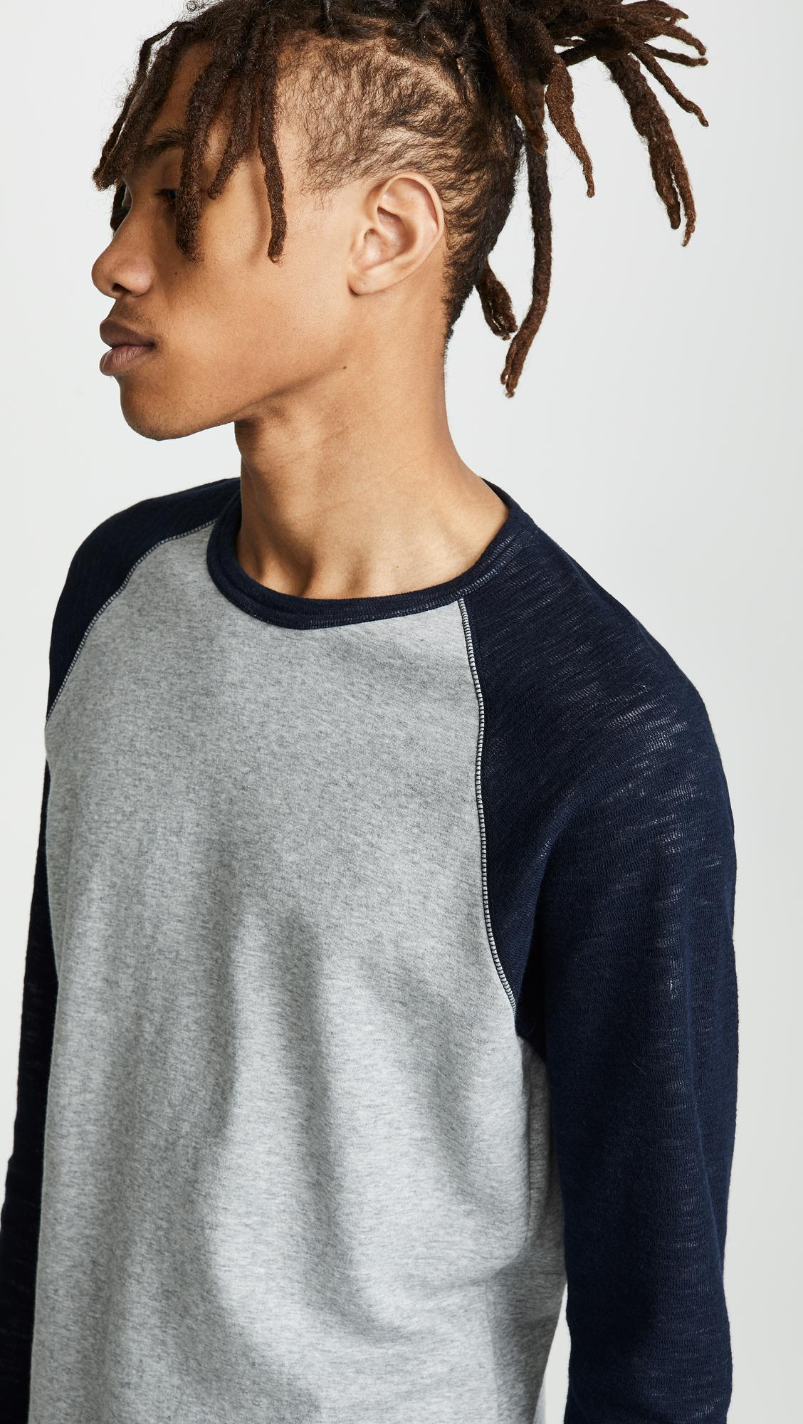 e51a7e5e355 Vince - Multicolor Colorblock Double Knit Crew Neck Shirt for Men - Lyst.  View fullscreen
