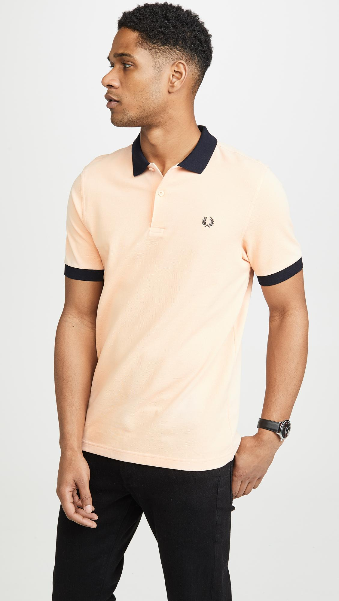 527a76abf Lyst - Fred Perry Colorblock Pique Shirt in Natural for Men