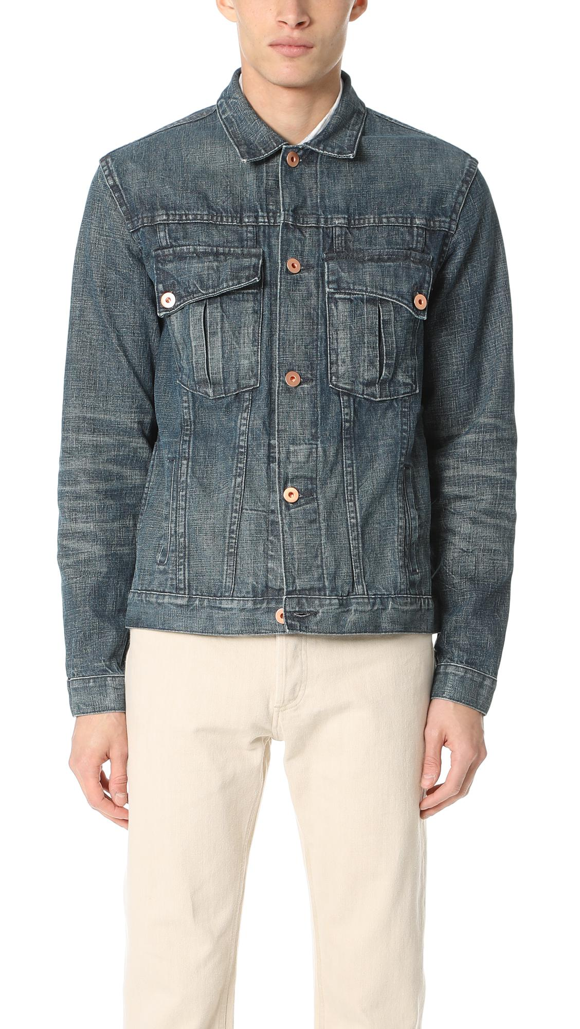 4db4538148 Lyst - Billy Reid Distressed Clayton Denim Jacket in Blue for Men