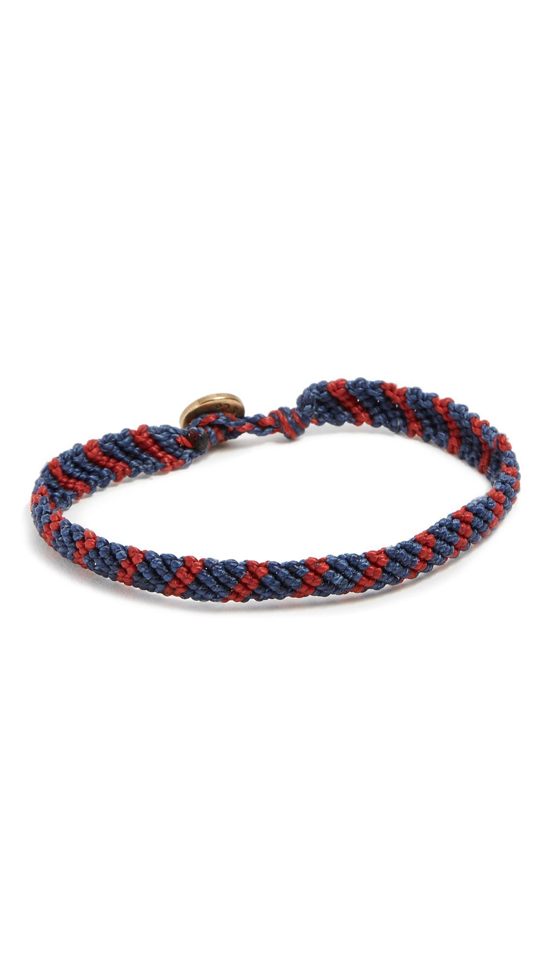 Caputo & Co. Hand-Knotted Stripe Bracelet - Brown/Navy c4Yd9FR
