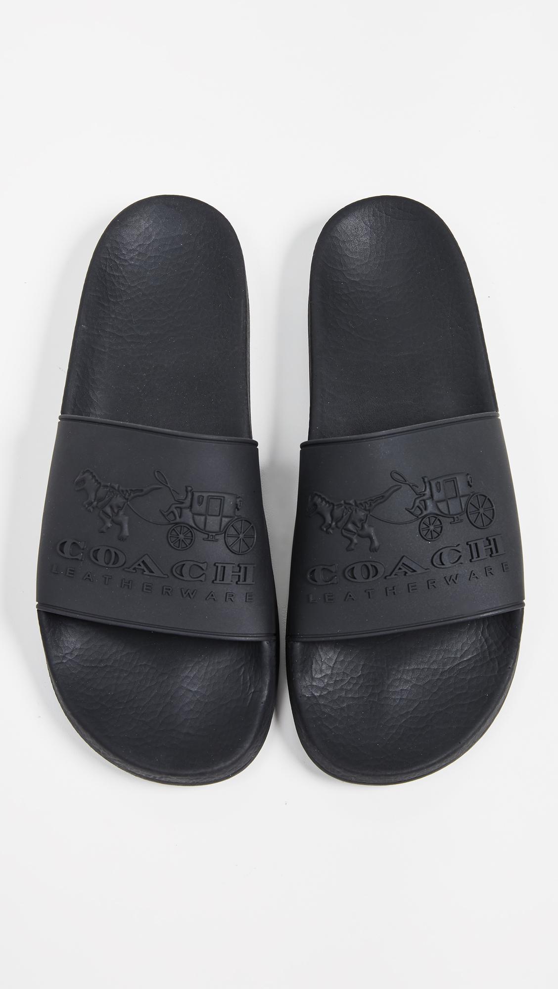 3b6b535914b COACH Coach 3d Logo Slide Sandals in Black for Men - Lyst
