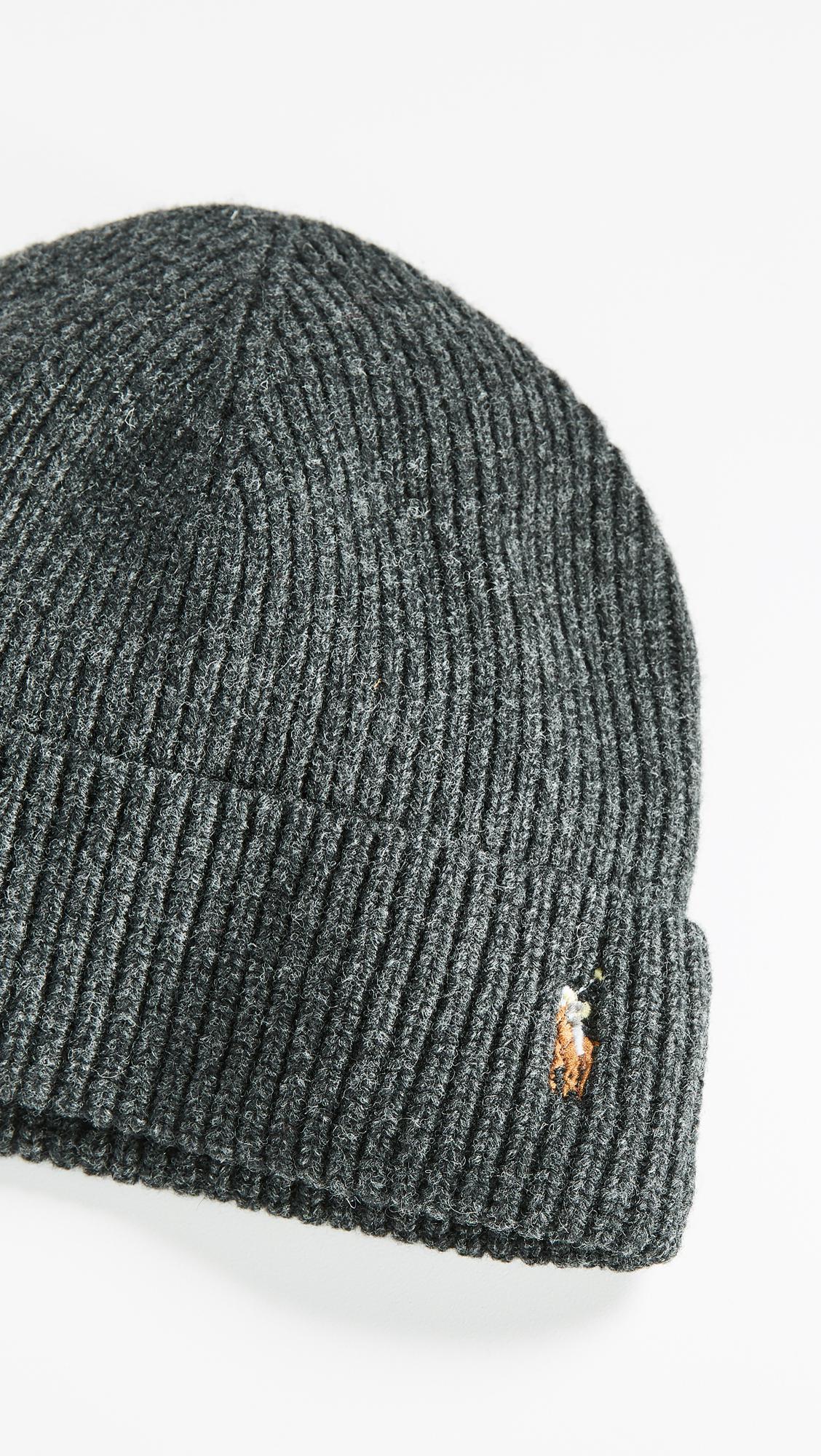 f99a0925344bb Polo Ralph Lauren - Gray Signature Merino Cuff Hat for Men - Lyst. View  fullscreen