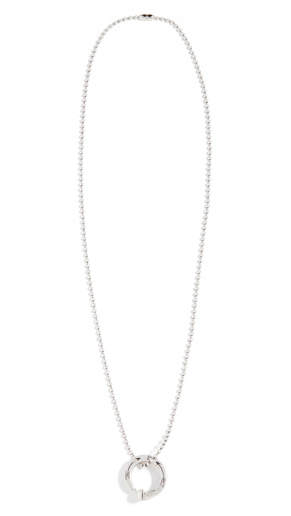 Giles & Brother Railroad Spike Ring Ball Chain Necklace - Silver Oxide vqyX4cl6Tv