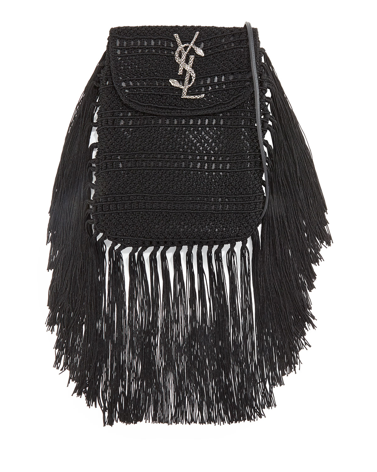 d0219c67f8 Lyst - Saint Laurent Anita Fringed Leather Small Cross-Body Bag in Black