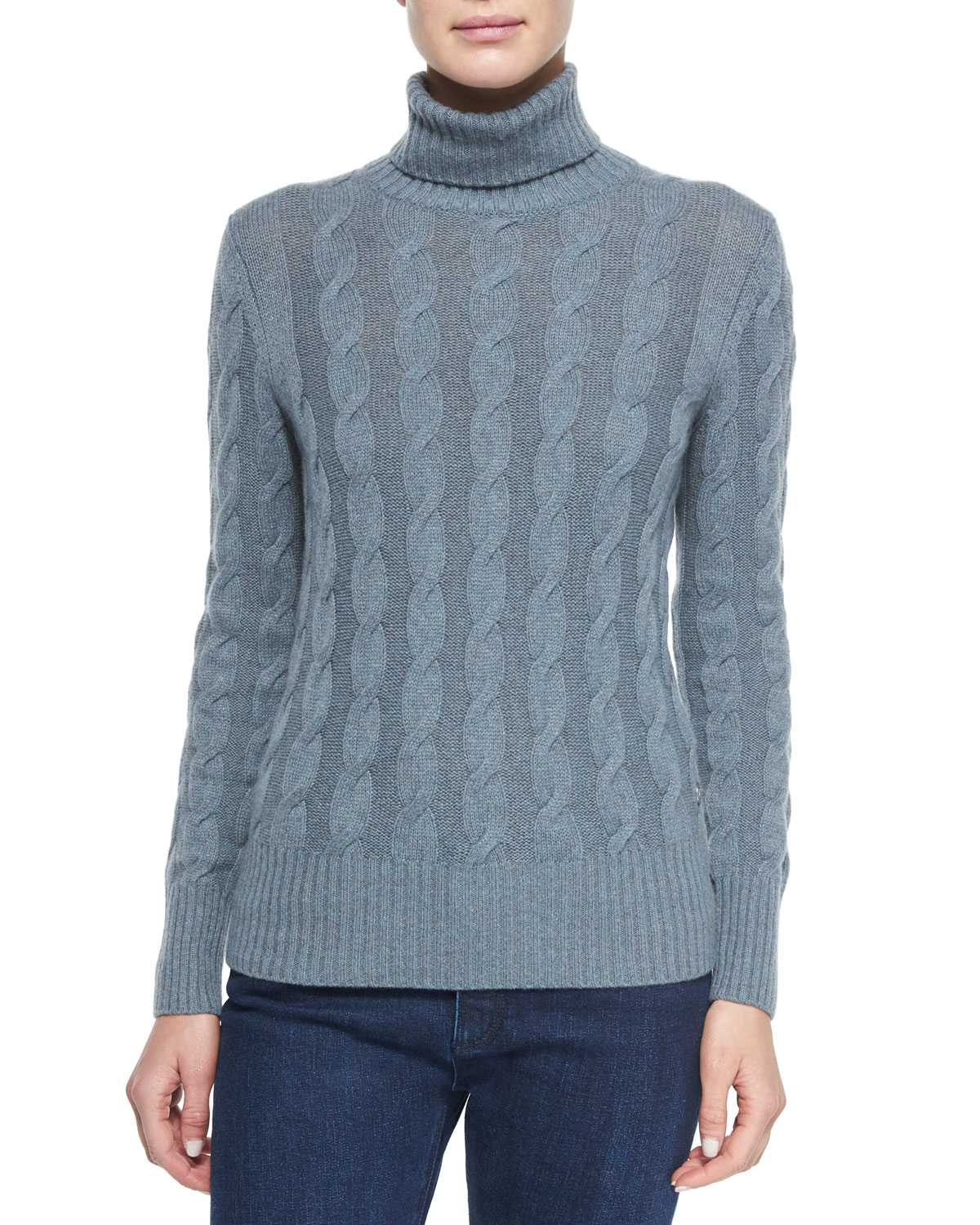 Loro piana Cashmere Cable Knit Turtleneck Sweater in Blue | Lyst