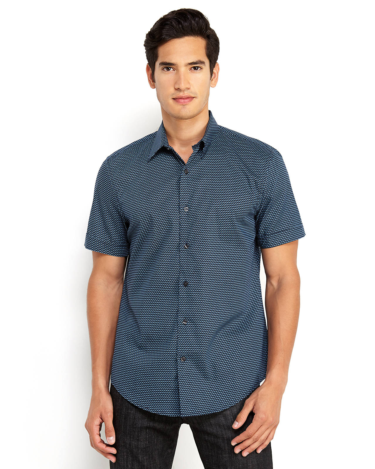 Perry Ellis Non-iron Multicolor Check Pattern Shirt