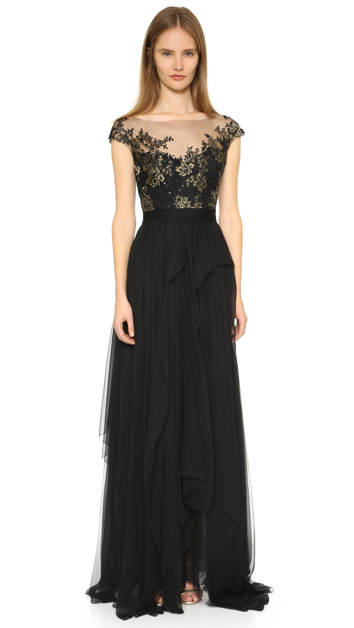 Lyst - Reem Acra Lace and Silk-Chiffon Gown in Black