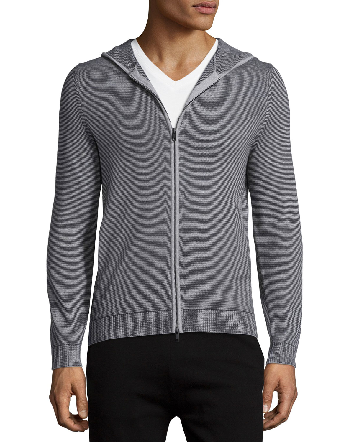 Theory Bisley Castelle Thin-strip Zip-up Hoodie in Gray for Men | Lyst