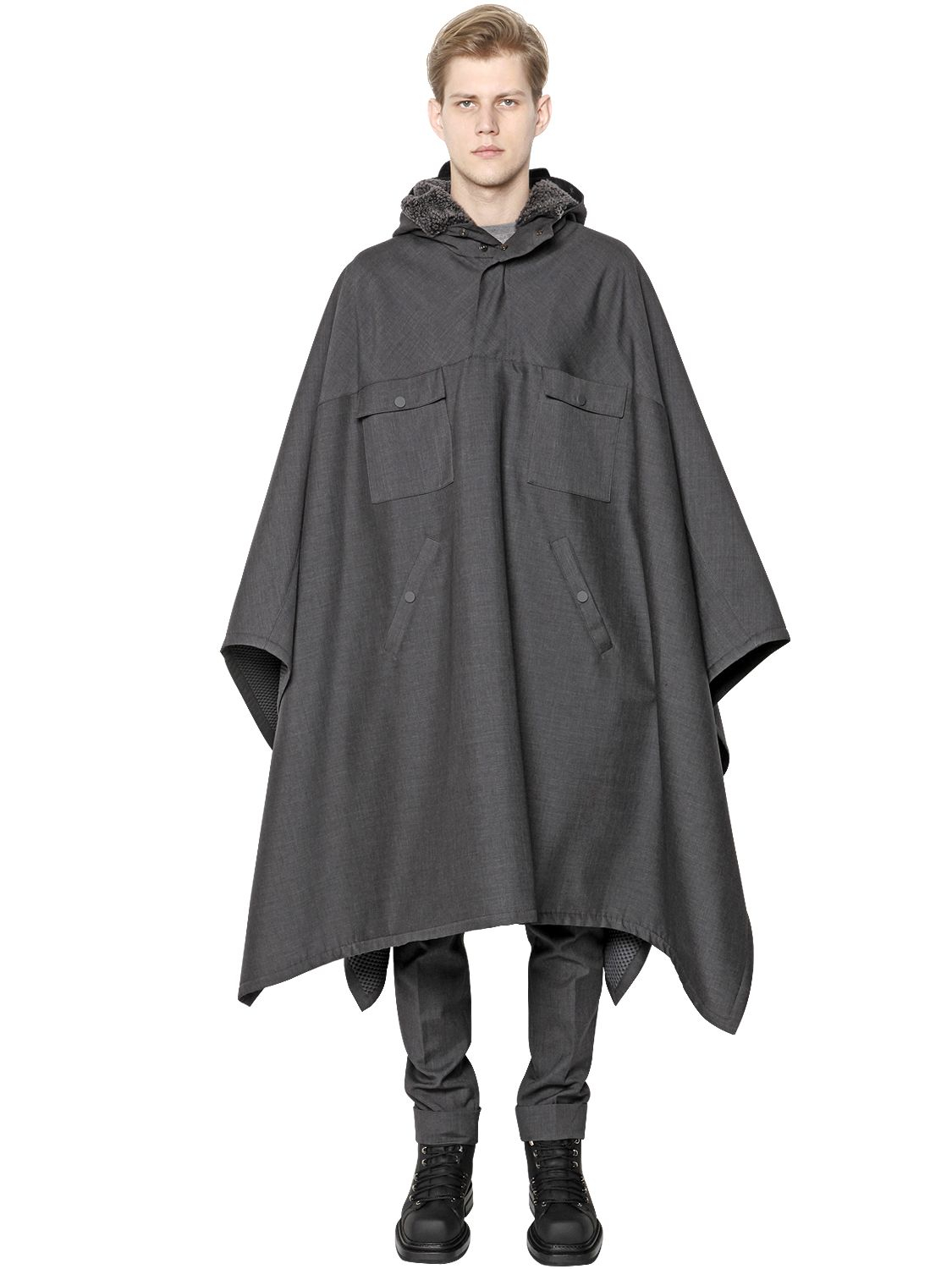Very Lyst - Calvin Klein Bonded Wool & Mesh Poncho in Gray for Men LY93